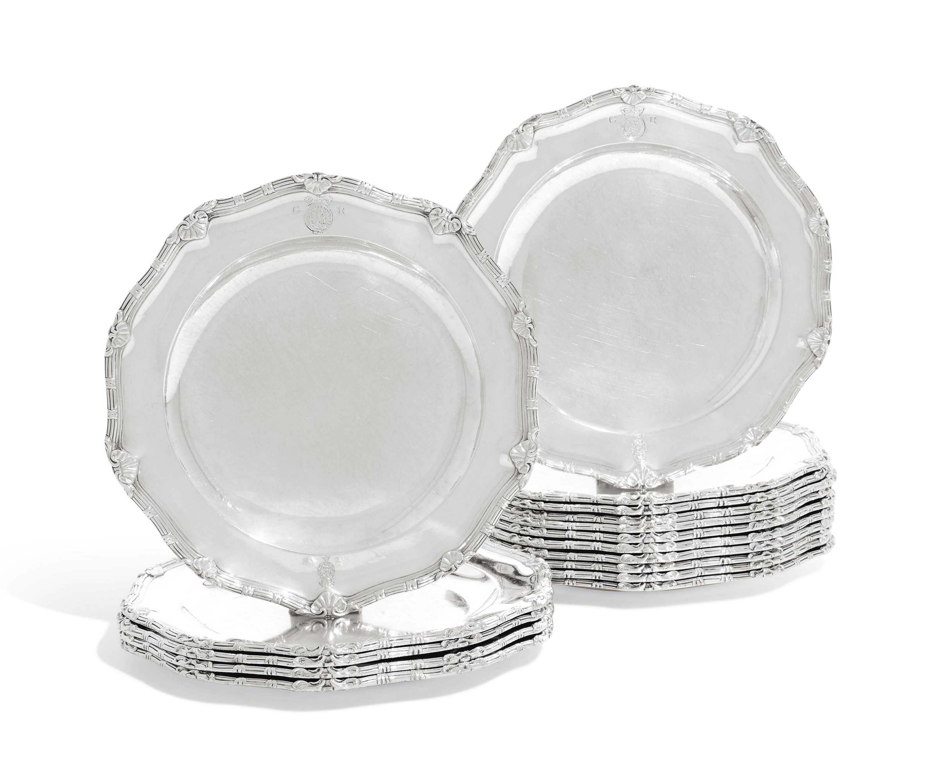 A SET OF SIXTEEN GEORGE III SILVER DINNER-PLATES