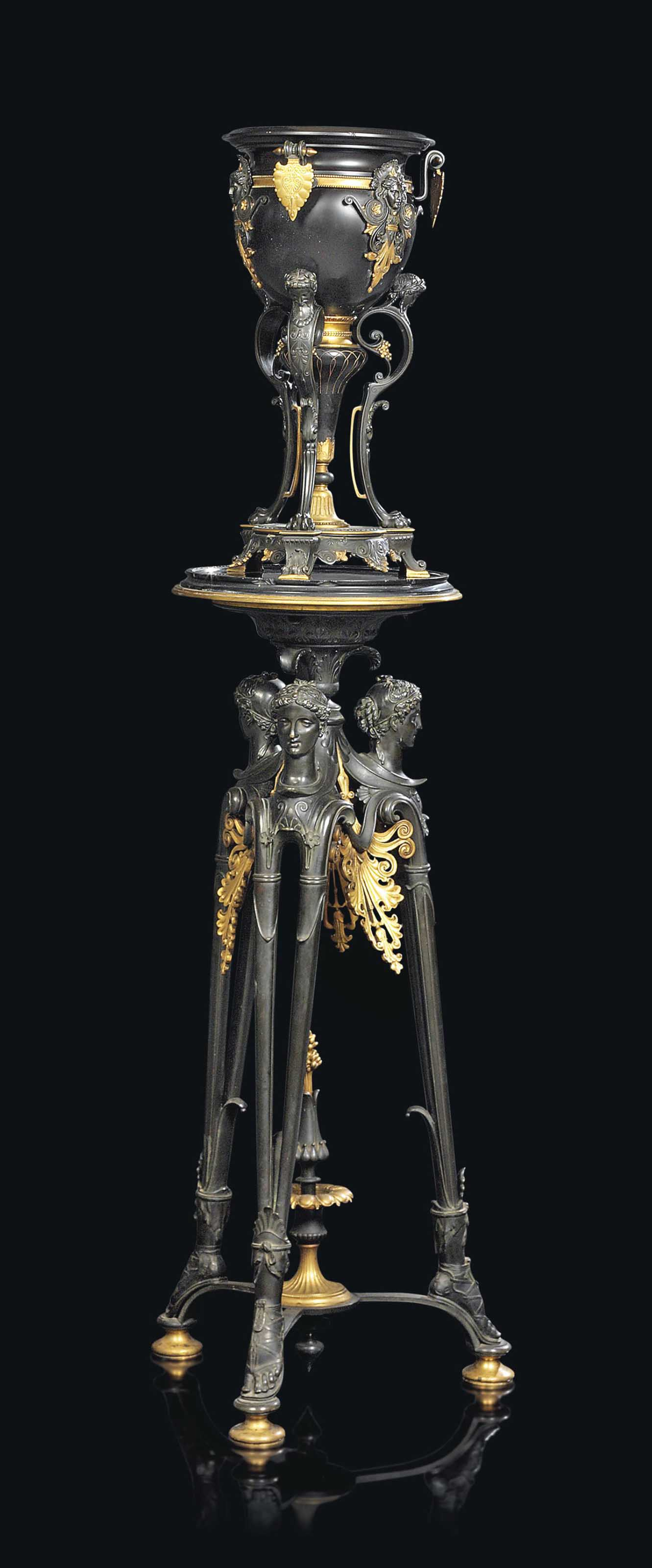 A FRENCH GILT AND PATINATED-BRONZE JARDINIERE ON TRIPOD STAND