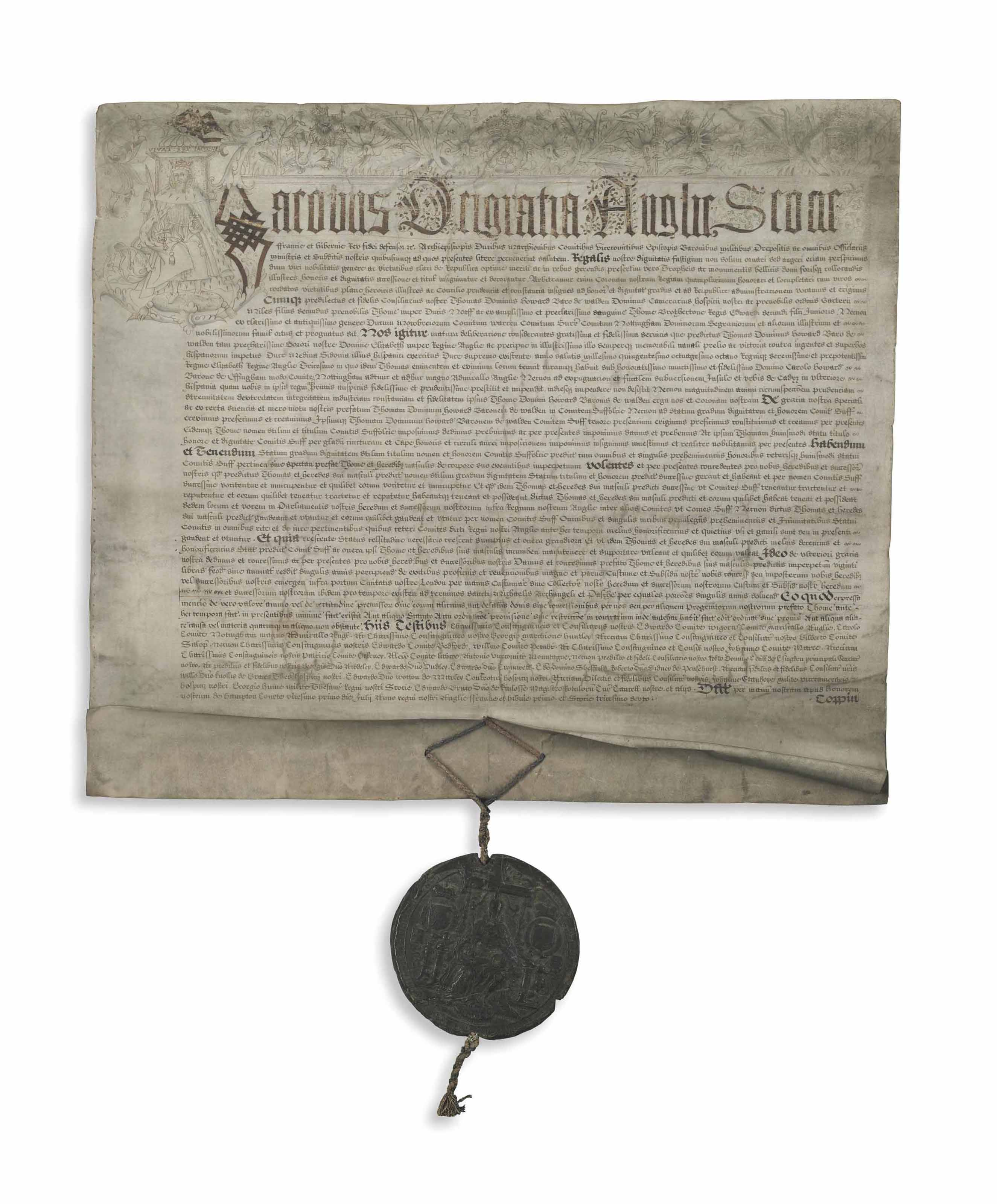 JAMES VI and I (1566-1625), King of Scotland, England and Ireland. Letters patent WITH INITIAL LETTER PORTRAIT, Hampton Court, 21 July 1603.