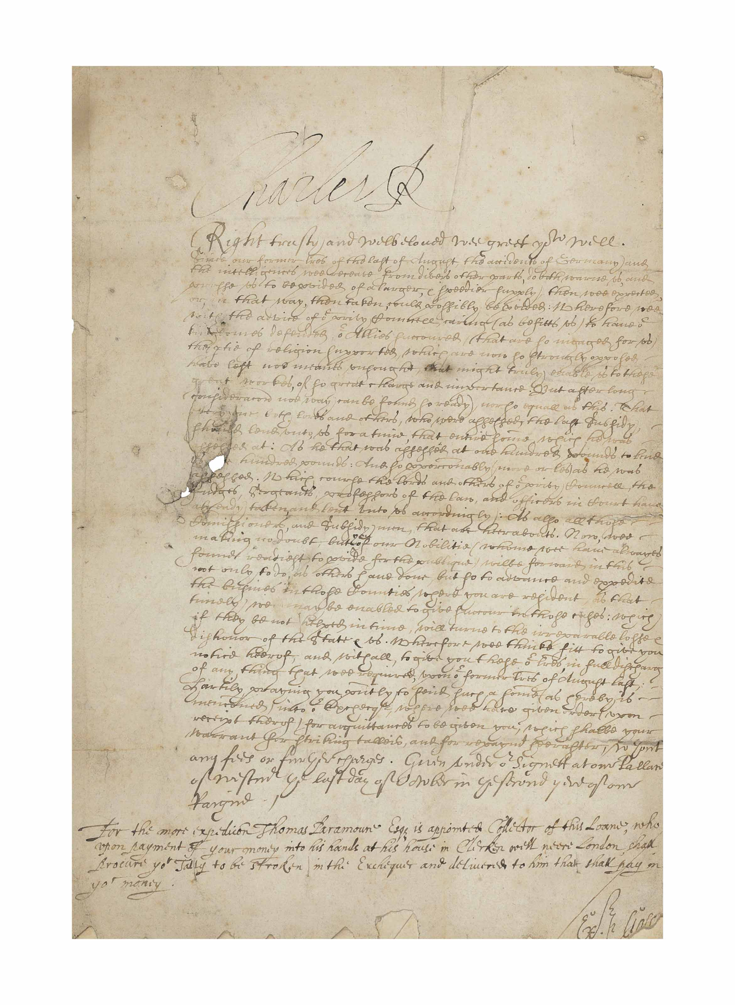 CHARLES I (1600-1649), king of England, Scotland and Ireland. Document signed ('Charles R') to Dudley, 3rd Baron North, Westminster, 31 October 1626.