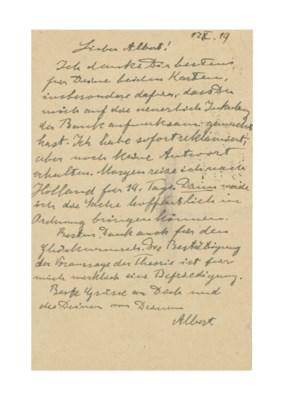 EINSTEIN, Albert. Autograph co