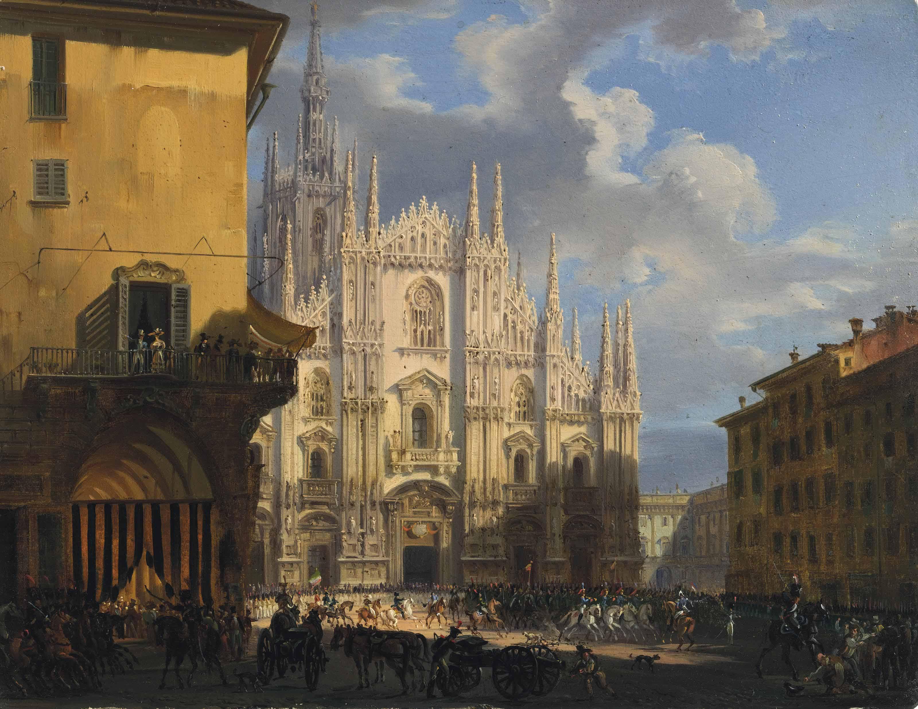 View of Piazza Duomo with the coperto dei Figini and the isolato del Rebecchino, Milan
