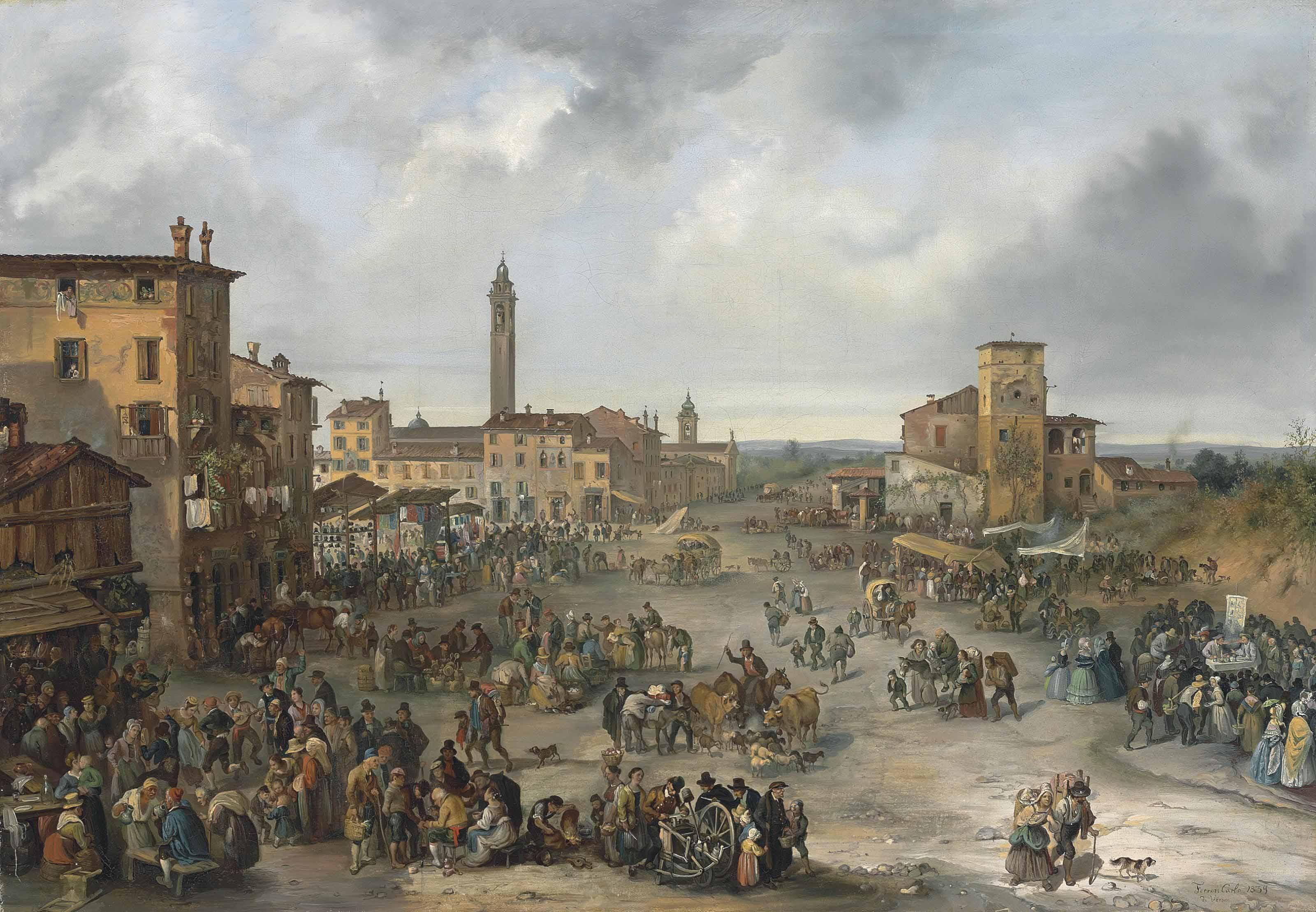 A market scene during the Fair of Sant' Alessandro, Bergamo