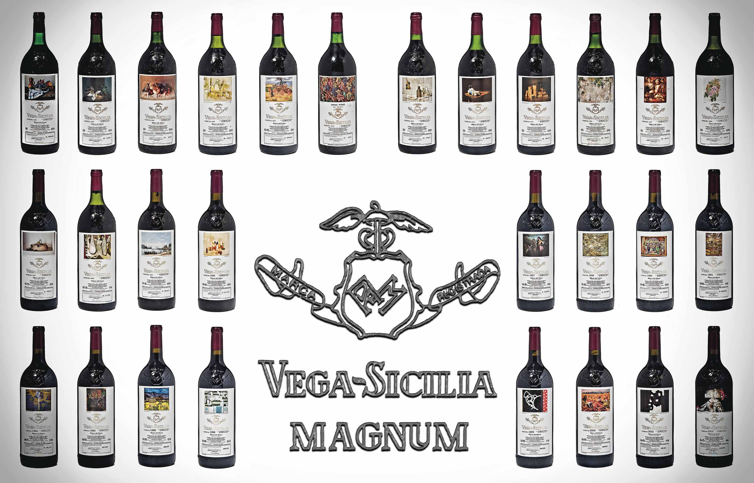 Vega Sicilia Unico 1960 magnum (1) 1962 magnum (1) 1965 magnum (1) 1968 Signs of old seepage. Level top-shoulder magnum (1) 1970 Level top-shoulder magnum (1) 1972 Signs of old seepage. Slightly bin-soiled label magnum (1) 1973 magnum (1) 1974  Signs of old seepage. Level top-shoulder magnum (1) 1975 magnum (1) 1976 Signs of old seepage, slightly corroded capsule. Level top-shoulder  magnum (1) 1979 magnum (1) 1980 Level top-shoulder  magnum (1) 1981 Slightly nicked label  magnum (1) 1982 Very slightly creased label magnum (1) 1983 Signs of seepage. Level top-shoulder  magnum (1) 1985 magnum (1) 1986 magnum (1) 1987 magnum (1) 1989 magnum (1) 1990 magnum (1) 1991 magnum (1) 1994 magnum (1) 1995 magnum (1) 1996 magnum (1) 1998 magnum (1) 1999 magnum (1) 2000 magnum (1) 2002 magnum (1) 2003 magnum (1)