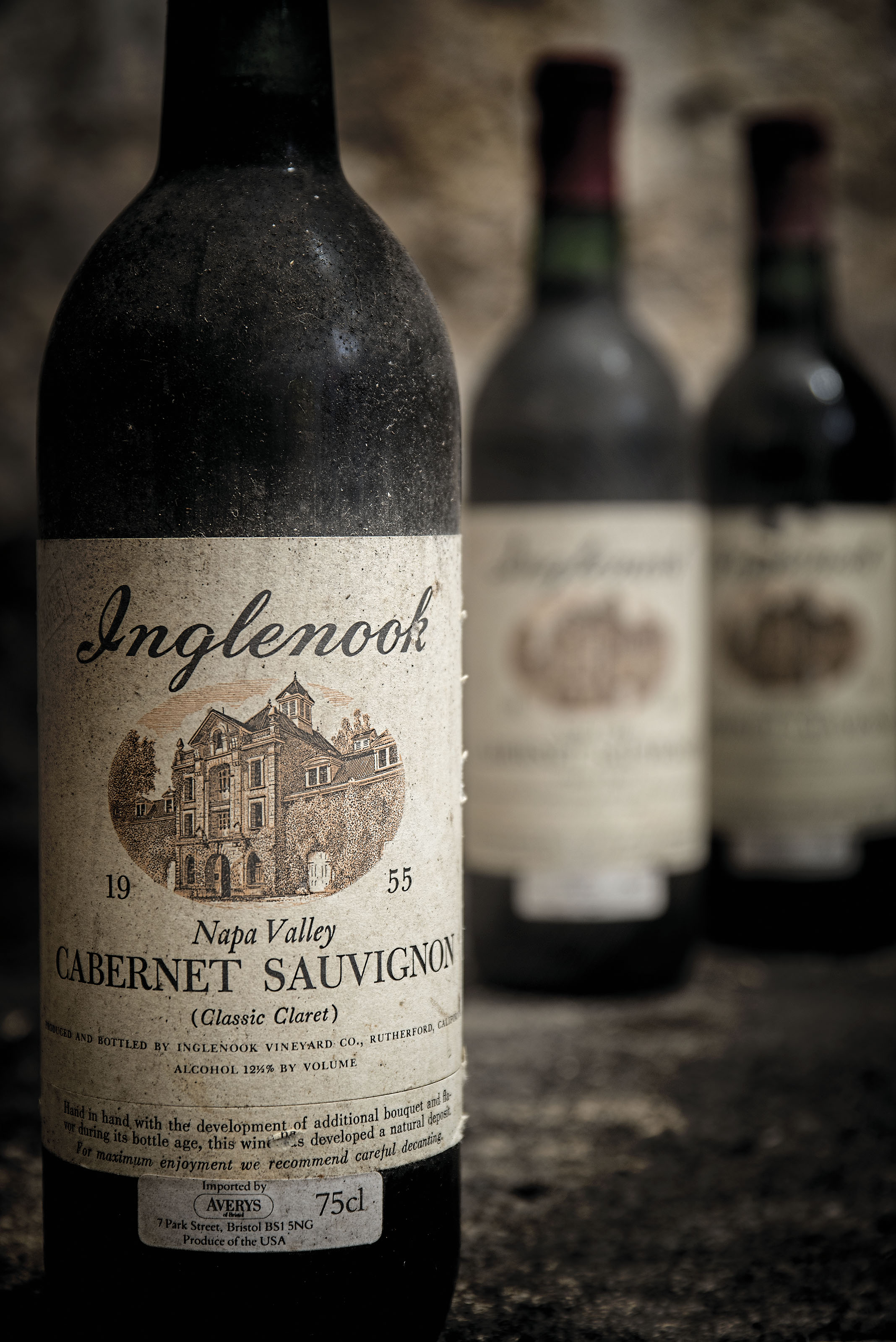 Inglenook, Cabernet Sauvignon 'Classic Claret' 1955 Embossed metal capsules, slightly corroded. Bin-soiled and slightly damaged labels. Level into-neck  (3) Beaulieu Vineyard, Cabernet Sauvignon 1968 Corroded capsules. Bin-soiled labels, damaged back labels. Levels base of neck or better  half (8)