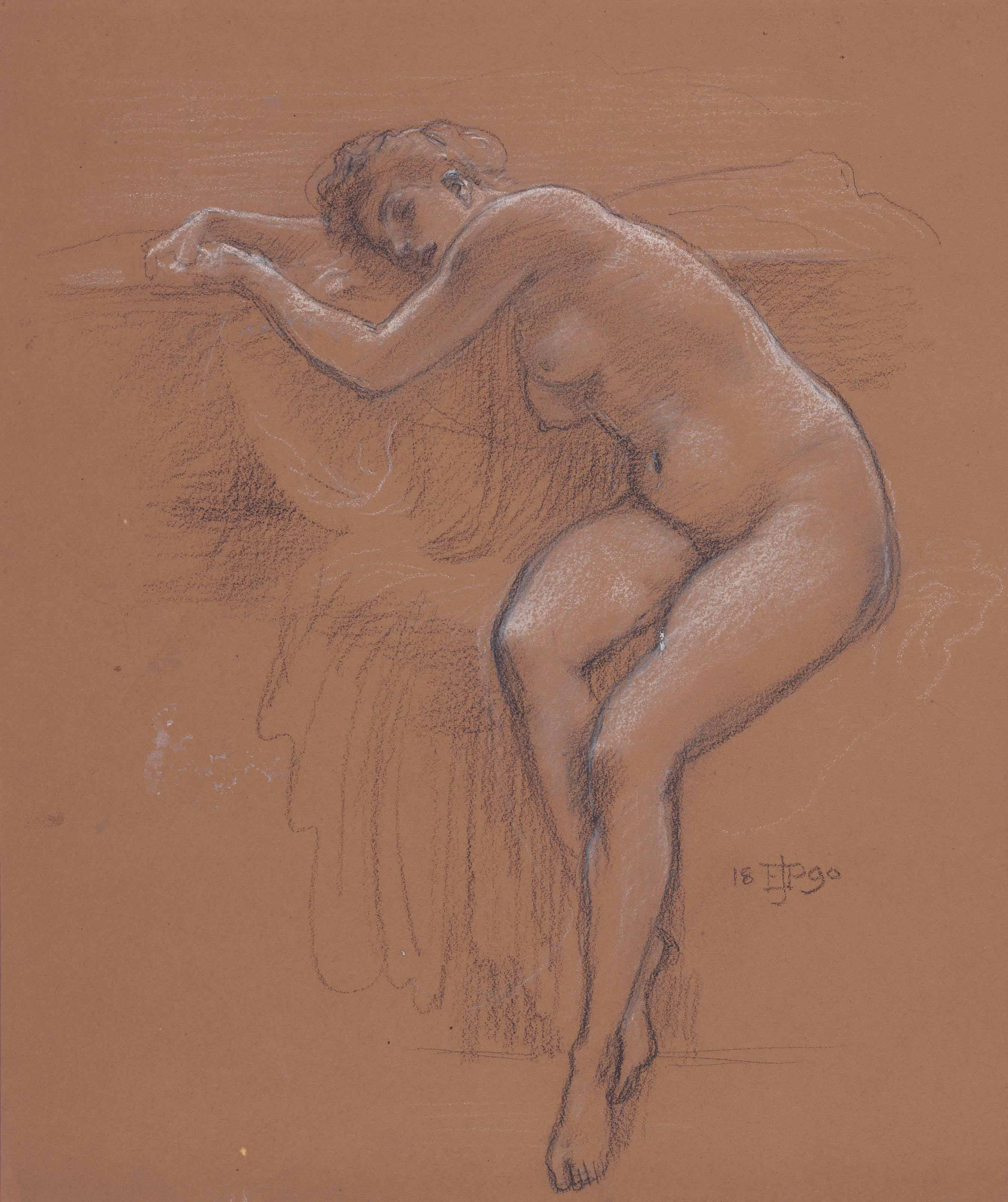 Study of a seated nude for 'When the World was Young'