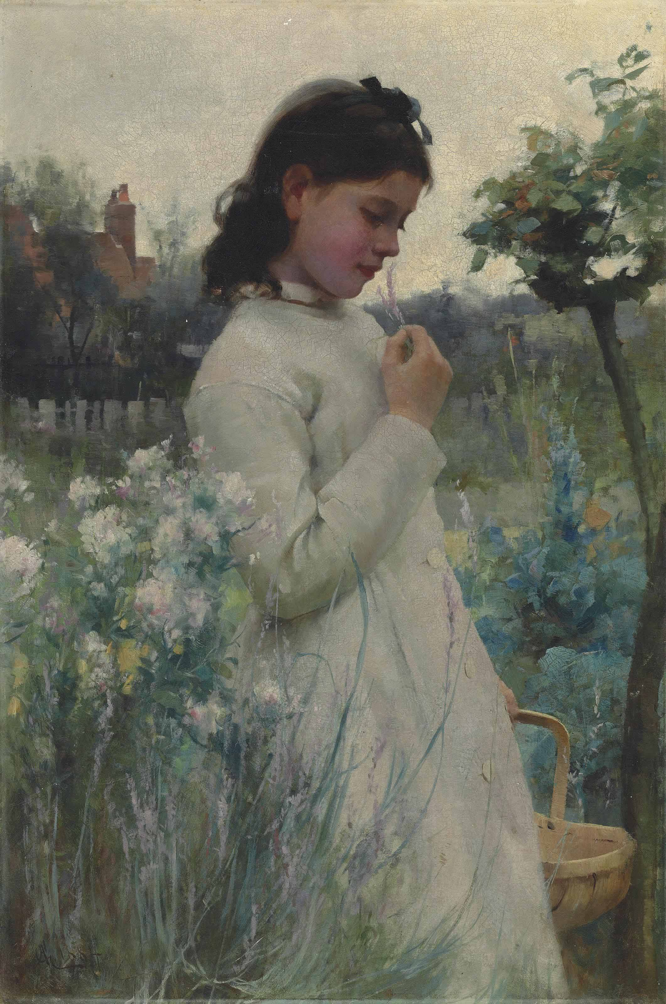A Young Girl in a Garden
