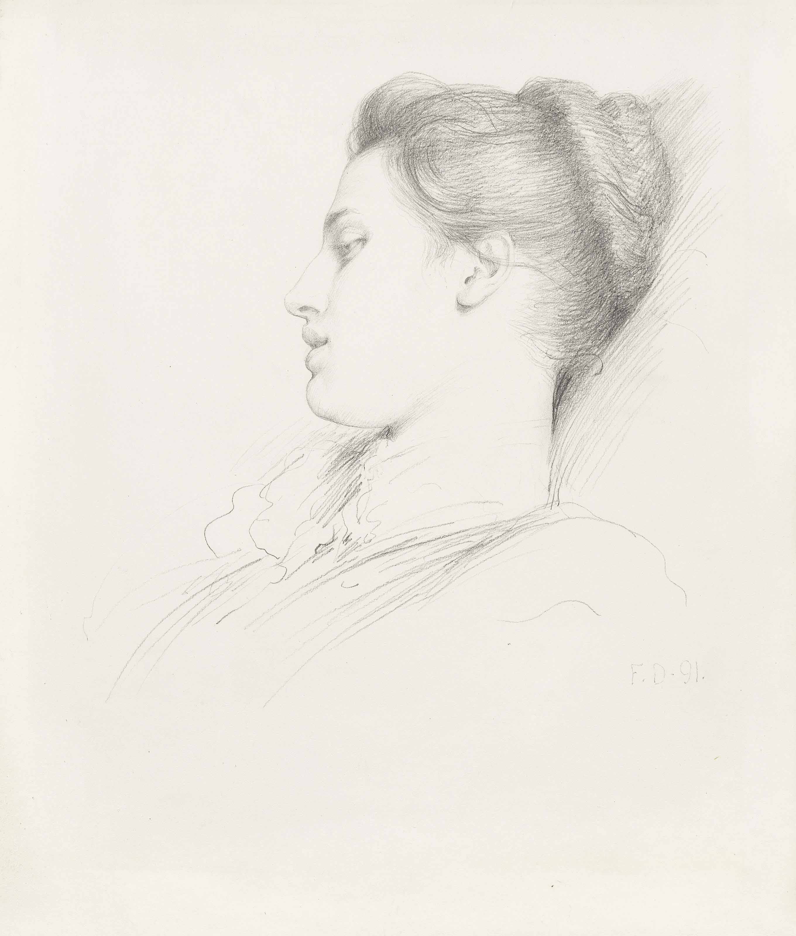 Portrait of a young girl, in profile