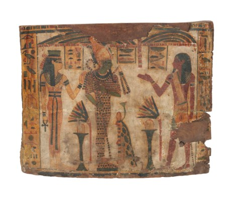 AN EGYPTIAN POLYCHROME PAINTED