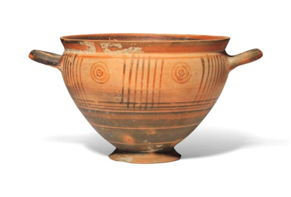 A GREEK POTTERY SKYPHOS