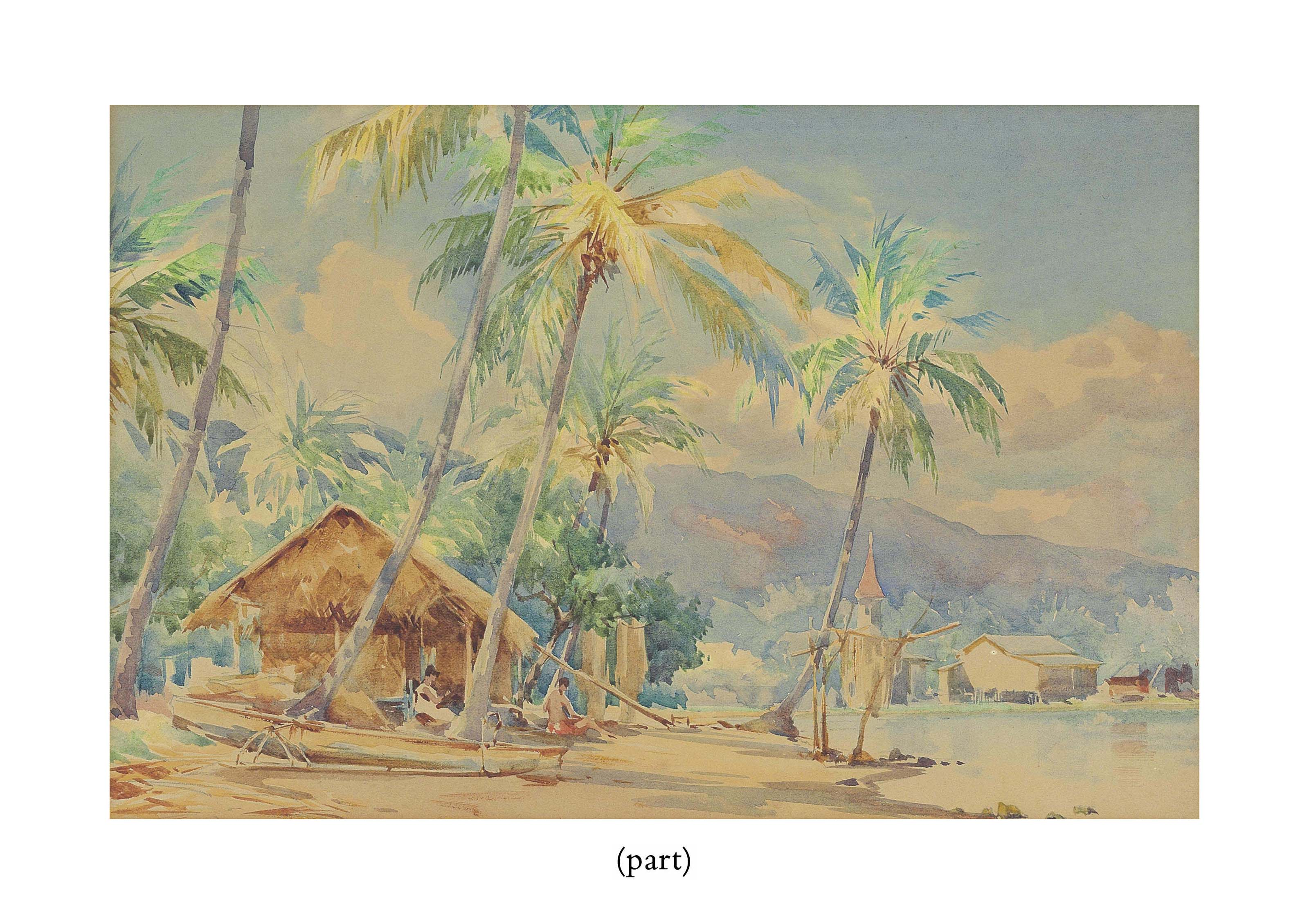 A house and flame tree by the shore, Tahiti