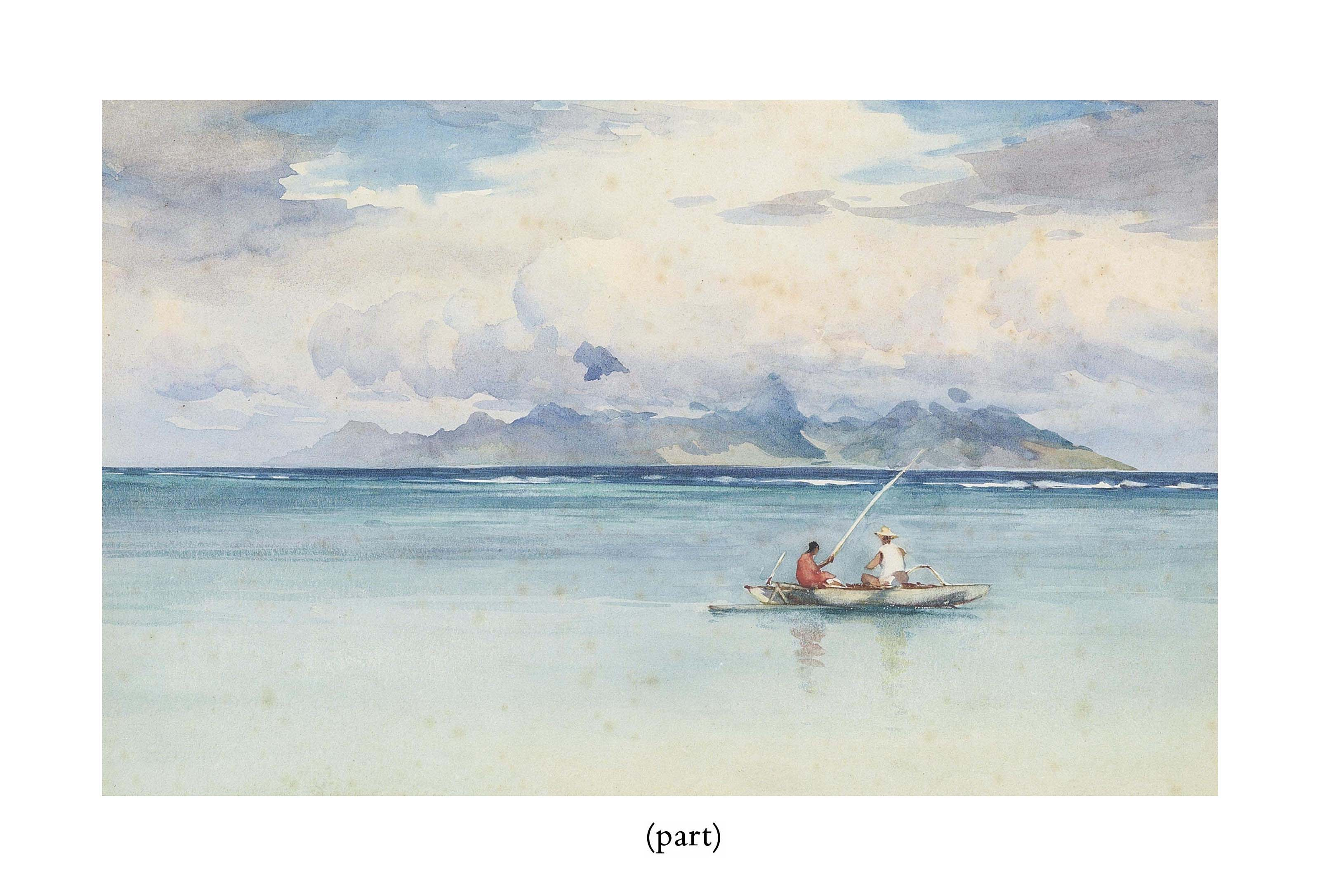 Tahitians fishing in an outrigger in the lagoon, the reef and Moorea beyond