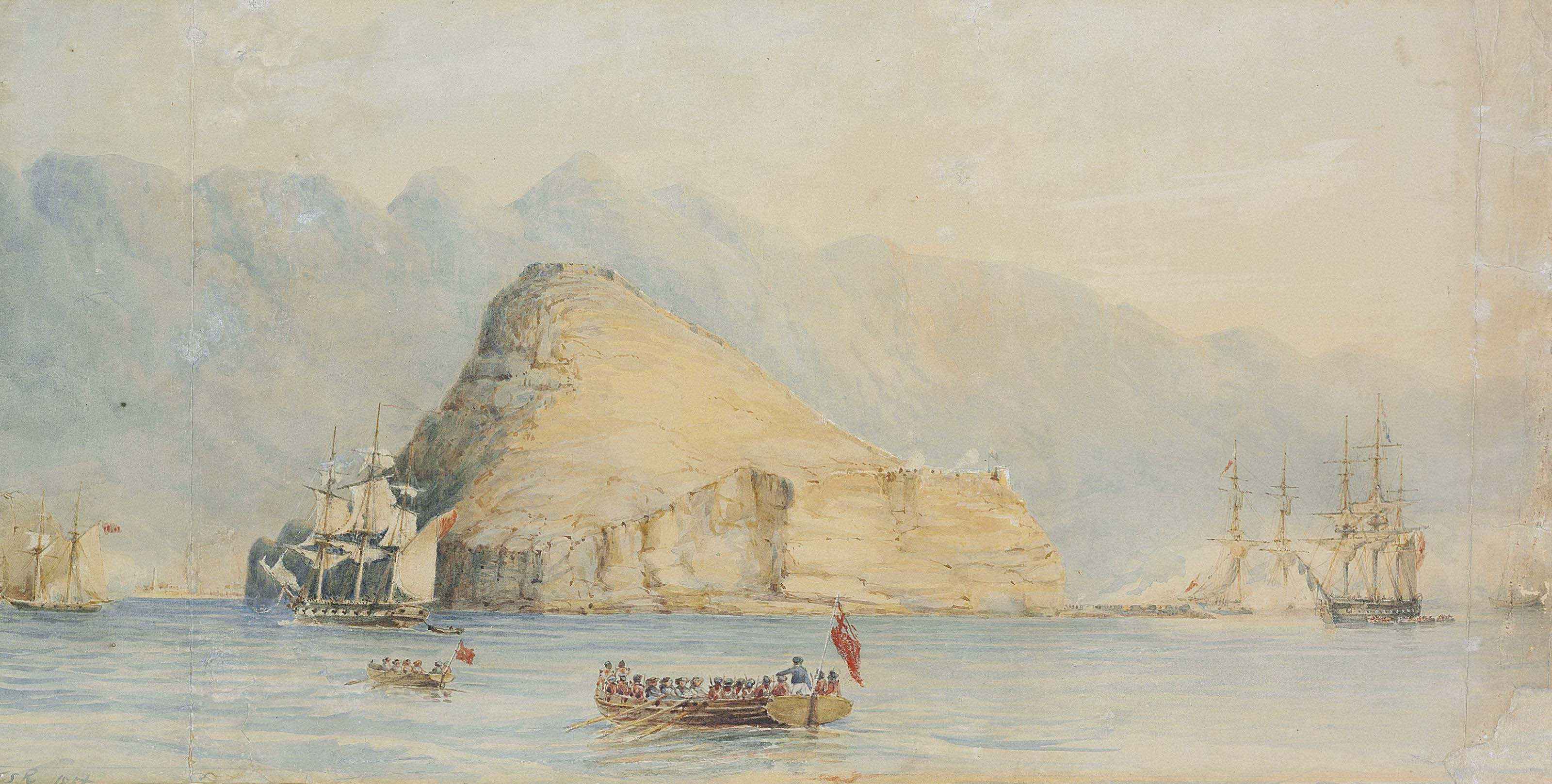 Ships of war manoeuvring for the attack on Aden, 17 January 1839; and Preparing for the attack on Aden, 18 January 1839