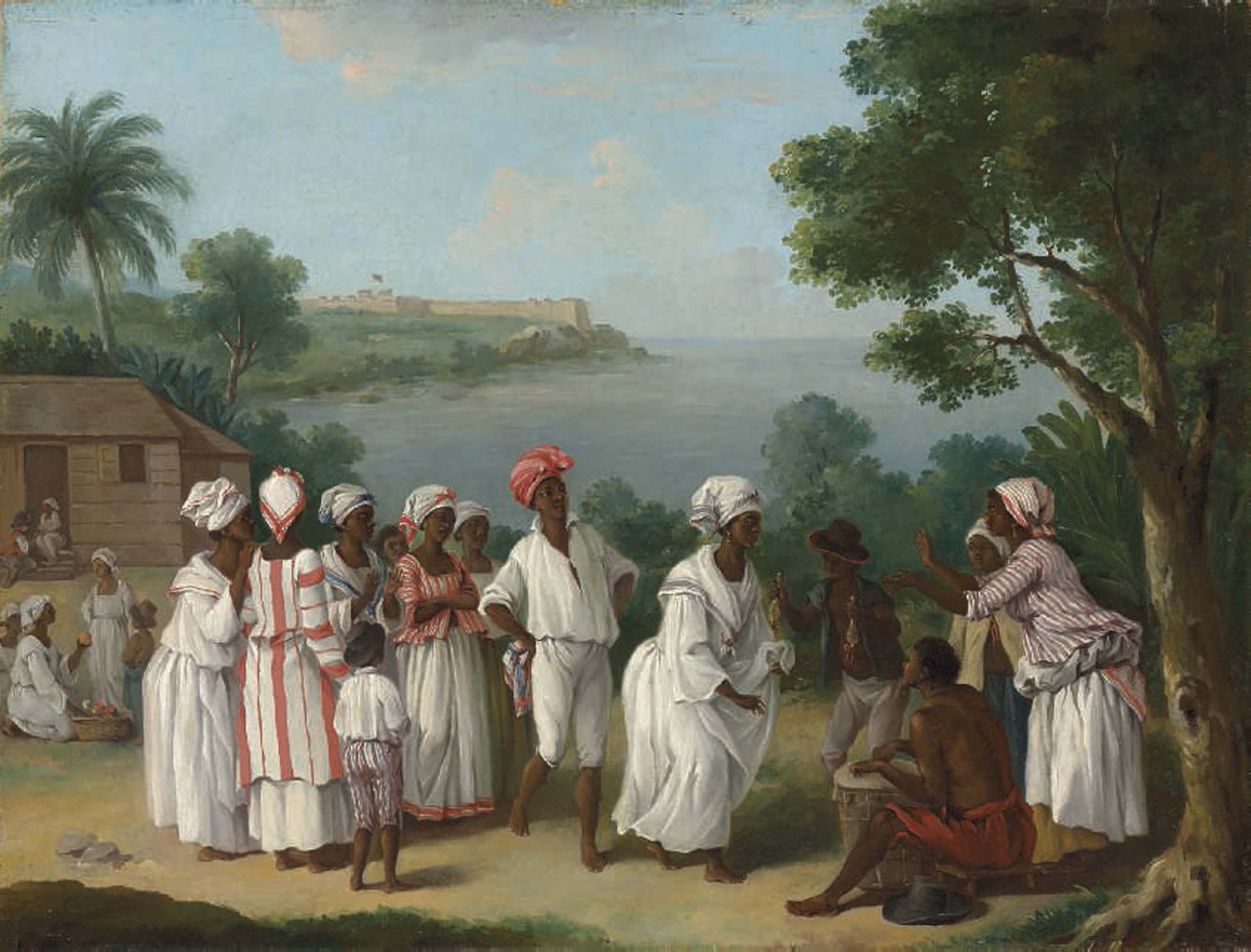 A negroes' dance in the island of Dominica, Fort Young beyond
