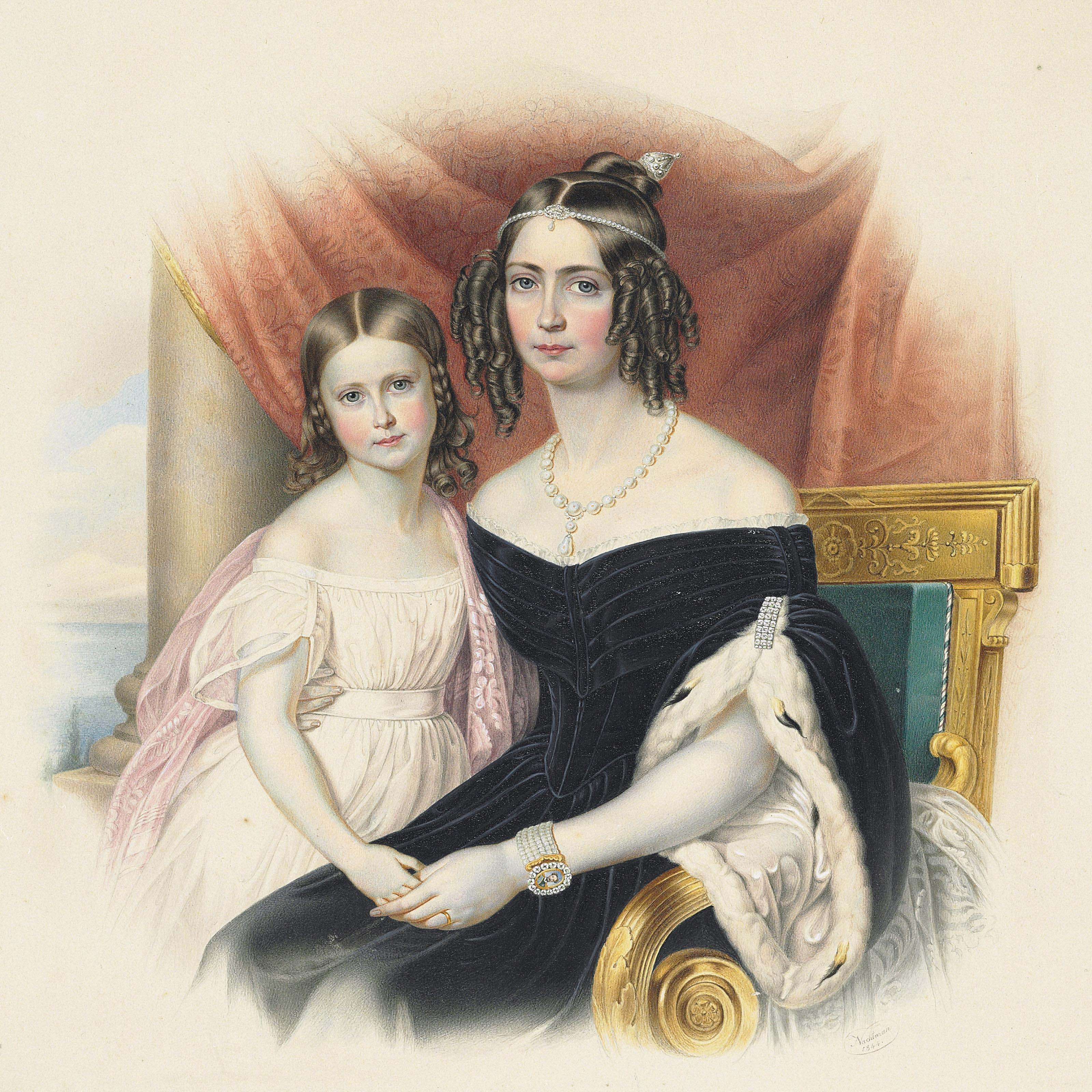 Portrait of Empress Amélie-Auguste-Eugenie of Brazil with her daughter Marie-Amélie-Auguste
