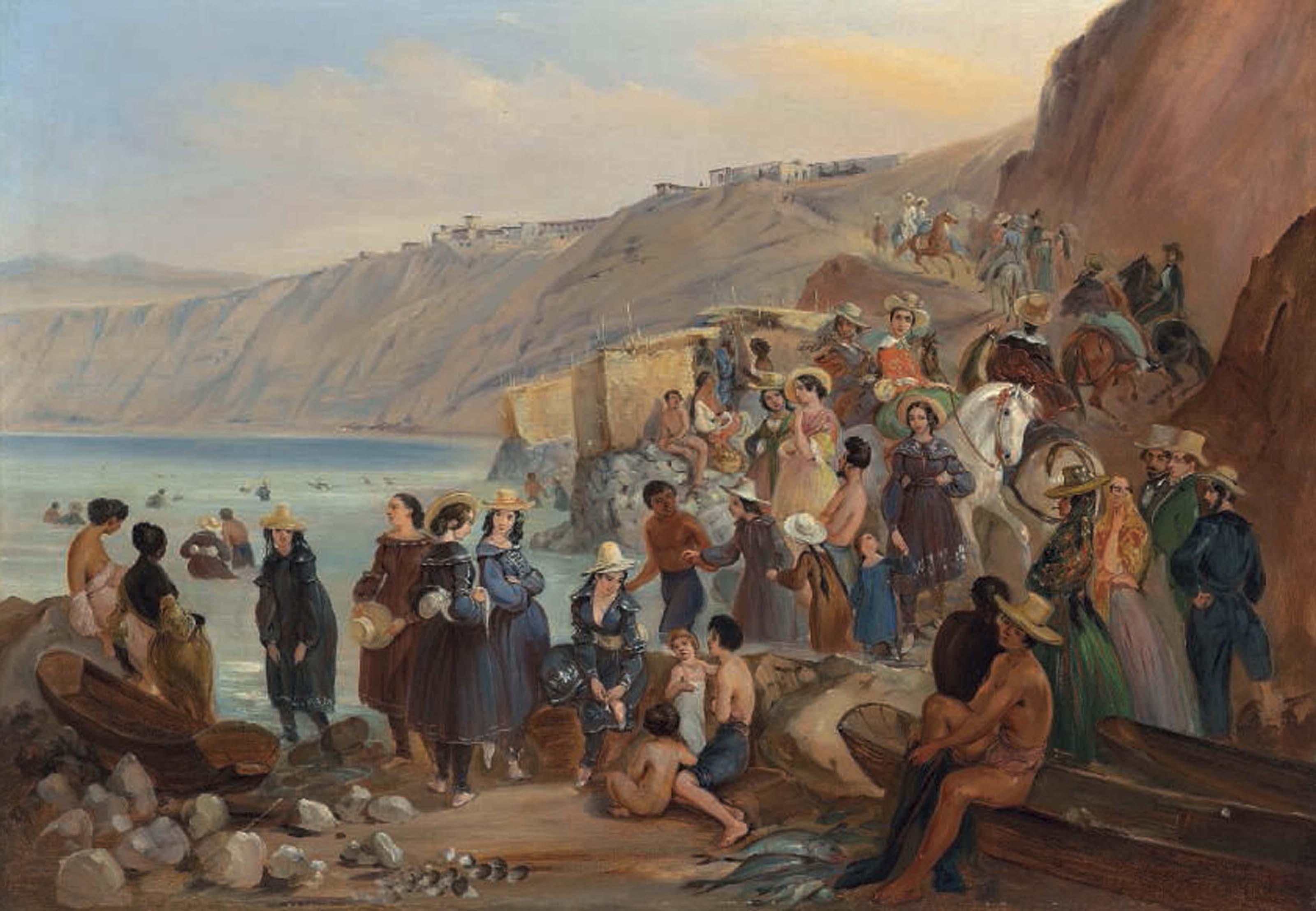 Bathers on the Chorillos beach, Miraflores, Lima