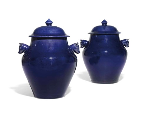 A PAIR OF AUBERGINE-GLAZED JAR
