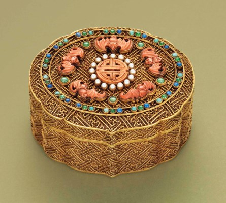 A GILT SILVER INLAID BOX AND C