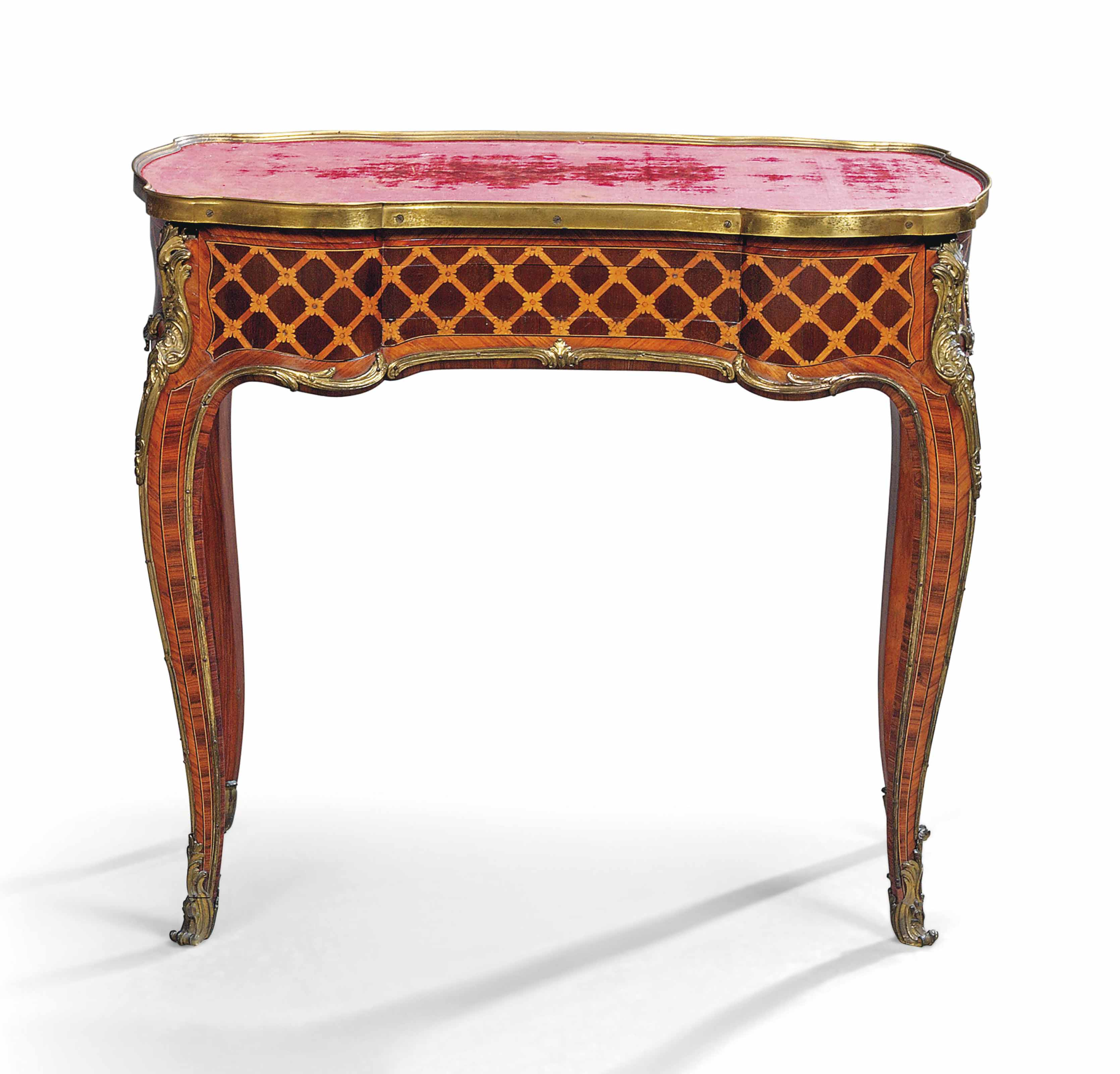 A LOUIS XV ORMOLU-MOUNTED AMARANTH, KINGWOOD AND TULIPWOOD PARQUETRY TABLE A ECRIRE