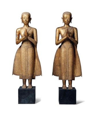 TWO GILT-LACQUERED BRONZE LARG
