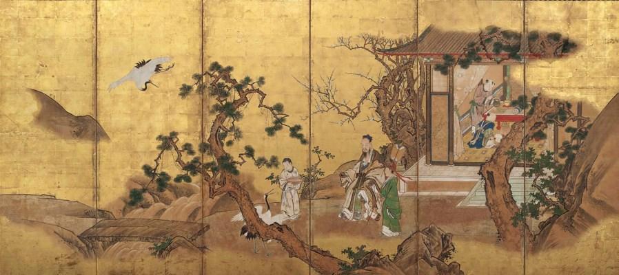 A JAPANESE SIX-FOLD SCREEN