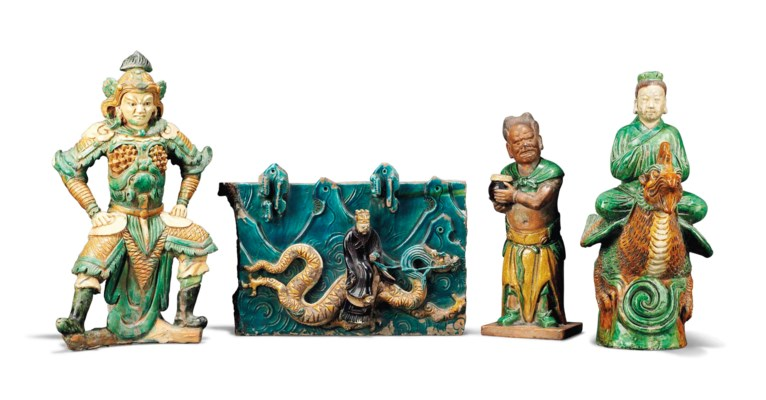 FOUR CHINESE GLAZED POTTERY TI