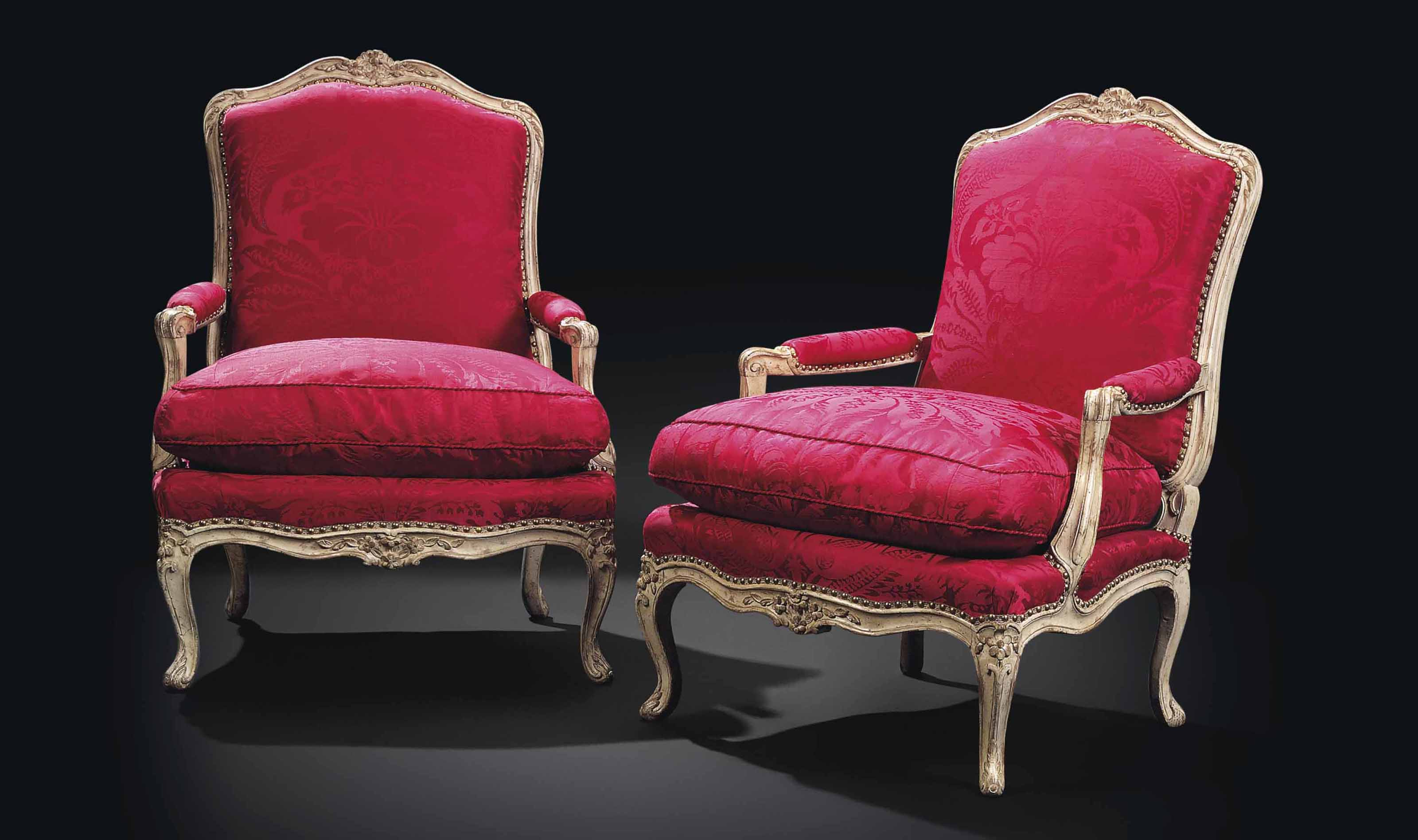 A PAIR OF LOUIS XV GREY-PAINTED FAUTEUILS