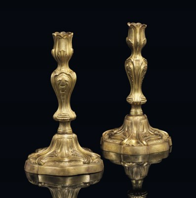 A PAIR OF LOUIS XV ORMOLU CAND