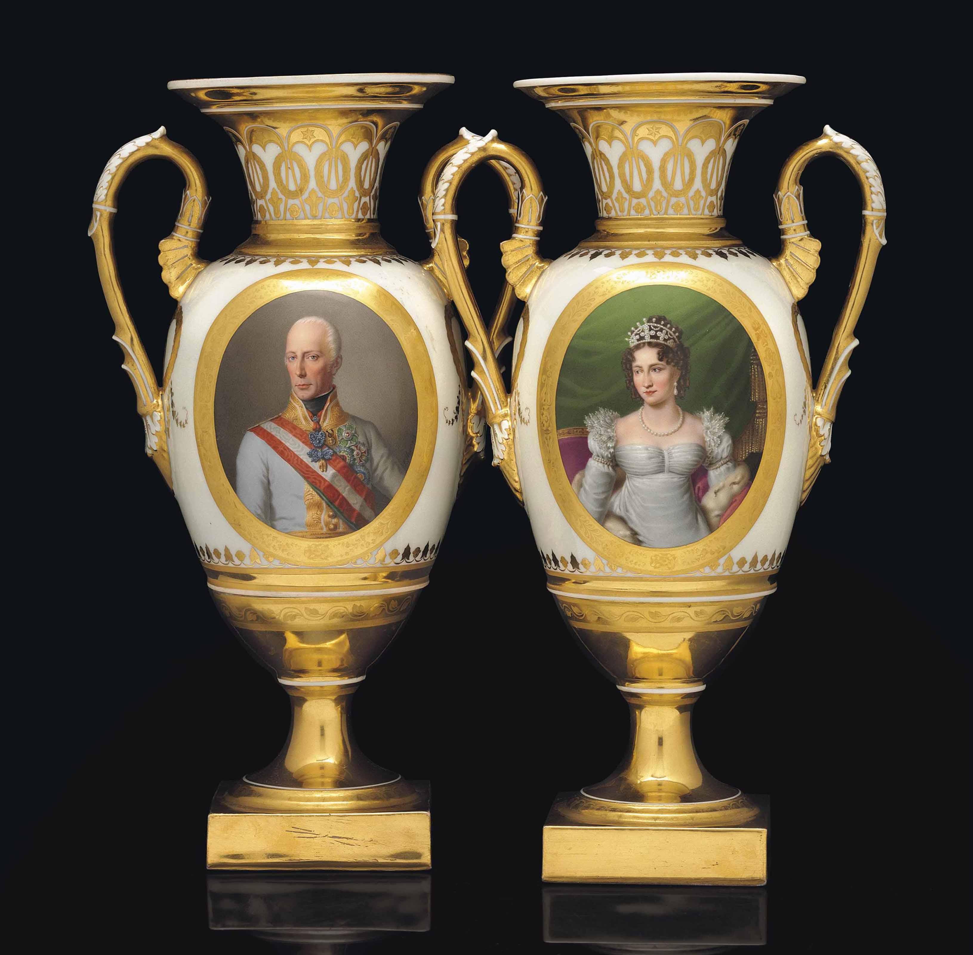 A PAIR OF VIENNA IMPERIAL PORTRAIT VASES OF EMPEROR FRANZ I AND EMPRESS KAROLINE AUGUSTE OF AUSTRIA