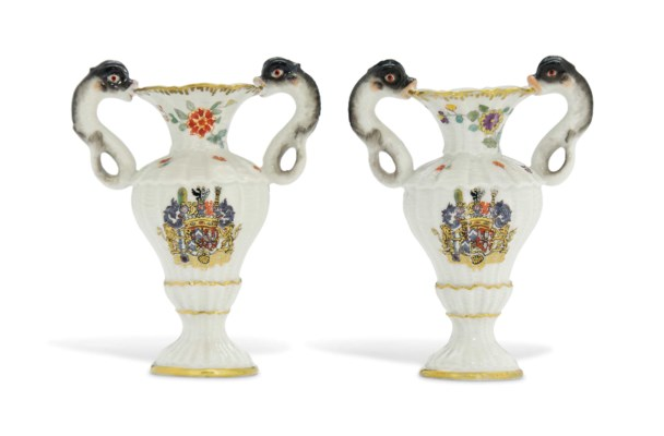 A PAIR OF MEISSEN MINIATURE TW