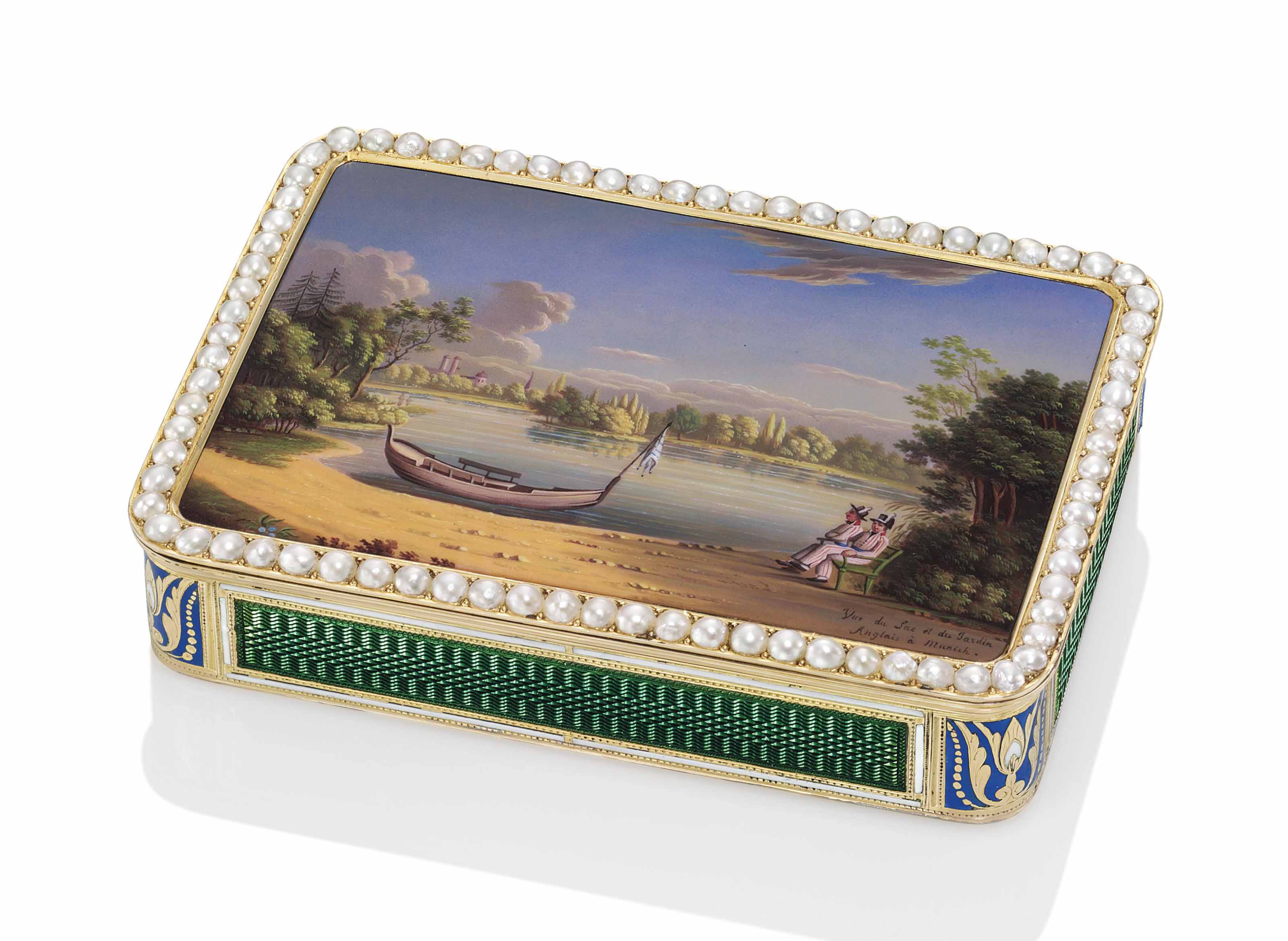 A SWISS JEWELLED ENAMELLED GOLD SNUFF BOX