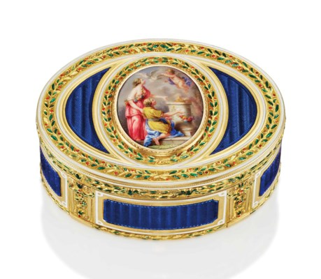 A LOUIS XVI ENAMELLED GOLD SNU