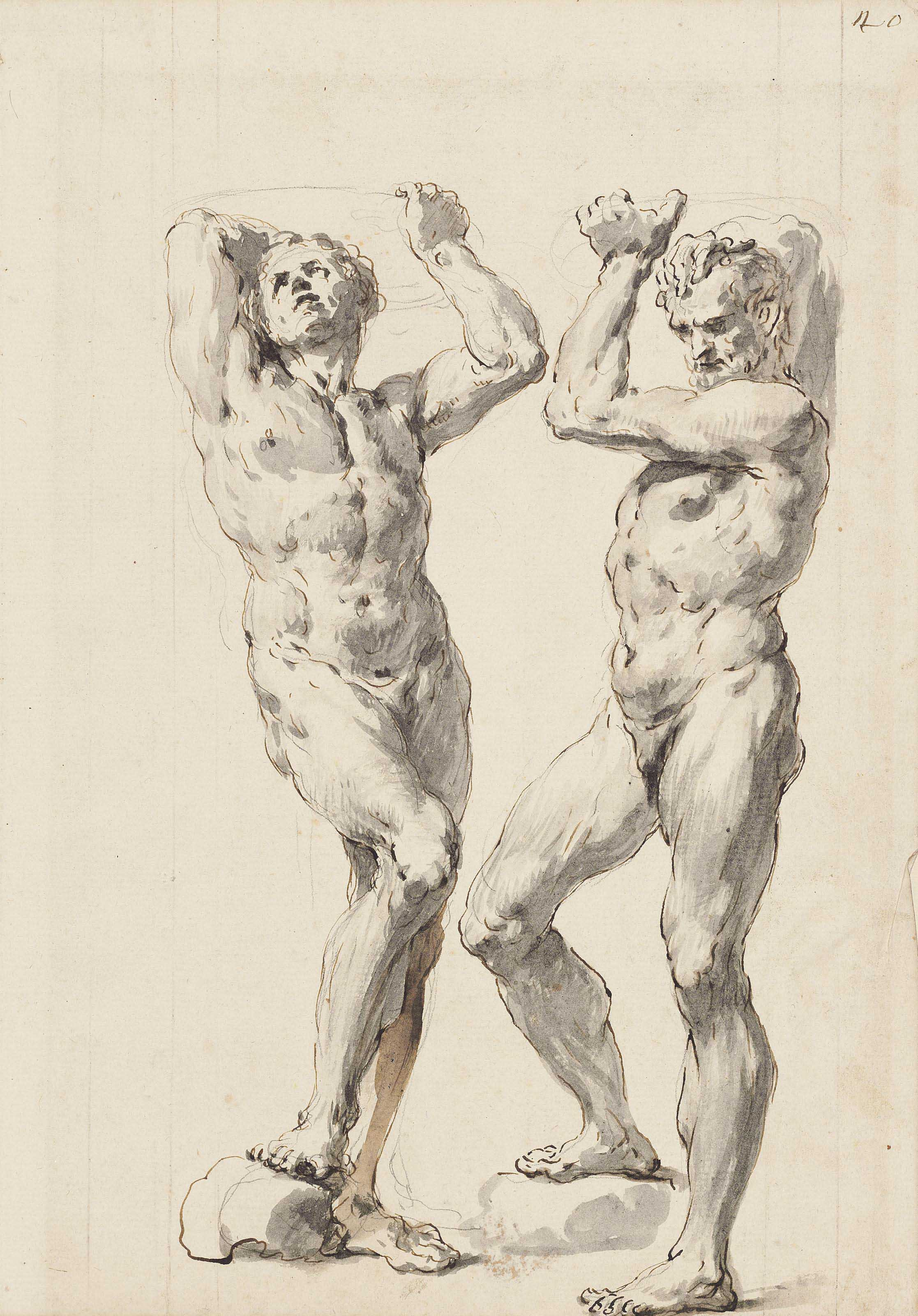 Two male nudes, holding a dish above their heads