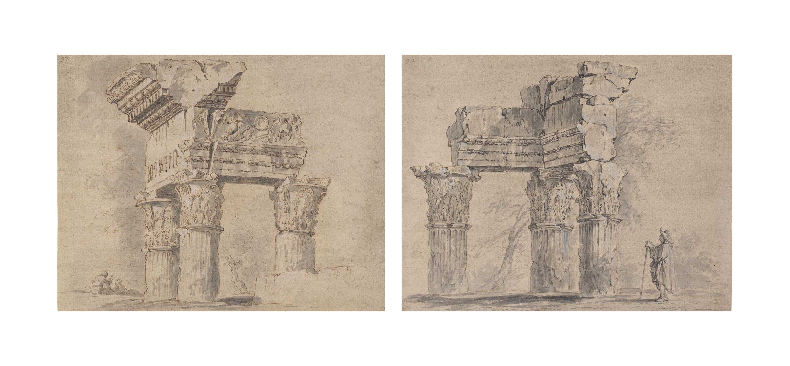 The ruins of the Temple of Vespasian, Rome, with two figures resting; and The ruins of the Temple of Vespasian with an admiring traveller
