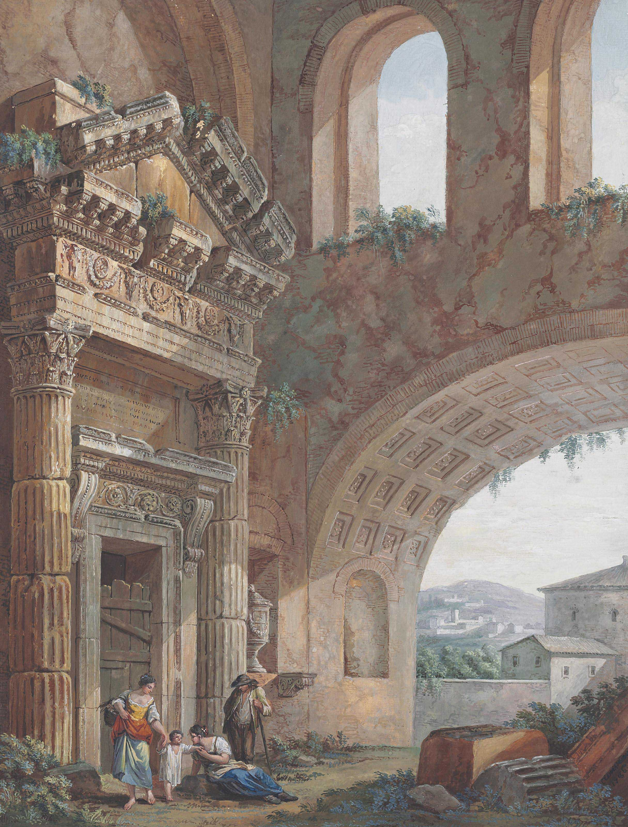 A classical capriccio with figures by a great arch