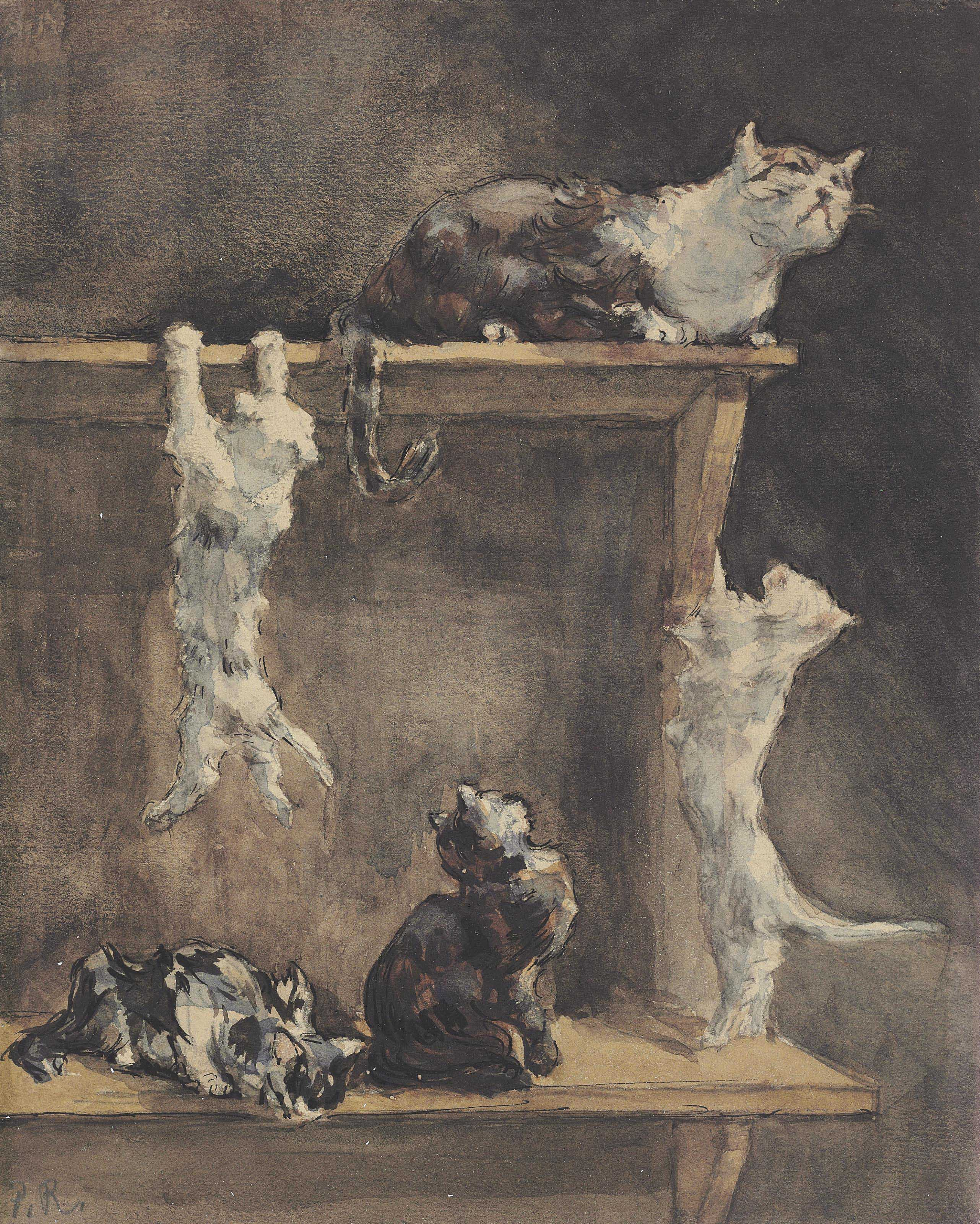 Cats and kittens on a dresser