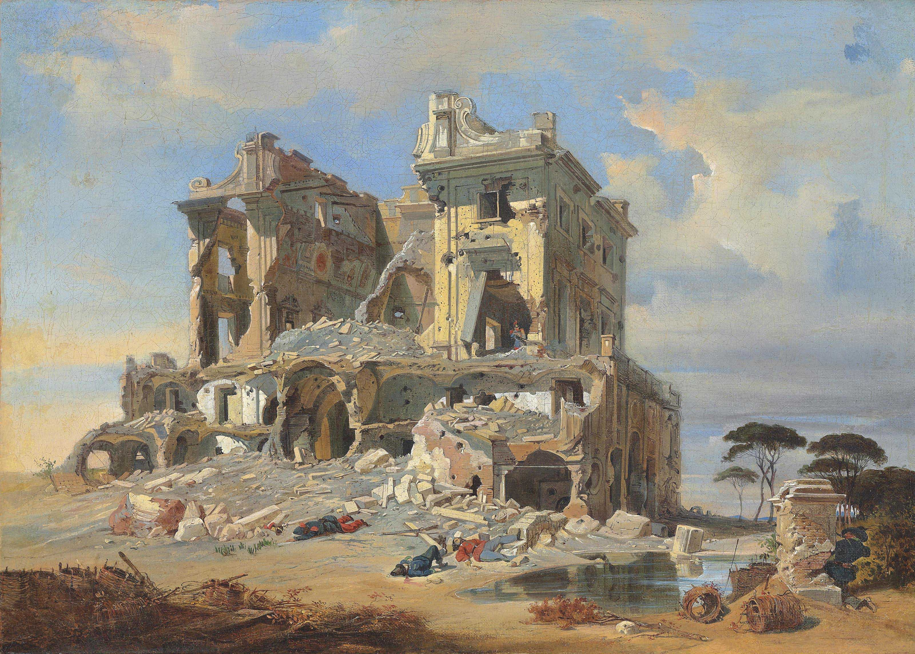 The Battle of the Casino dei Quattro Venti during the Siege of Rome, 1849