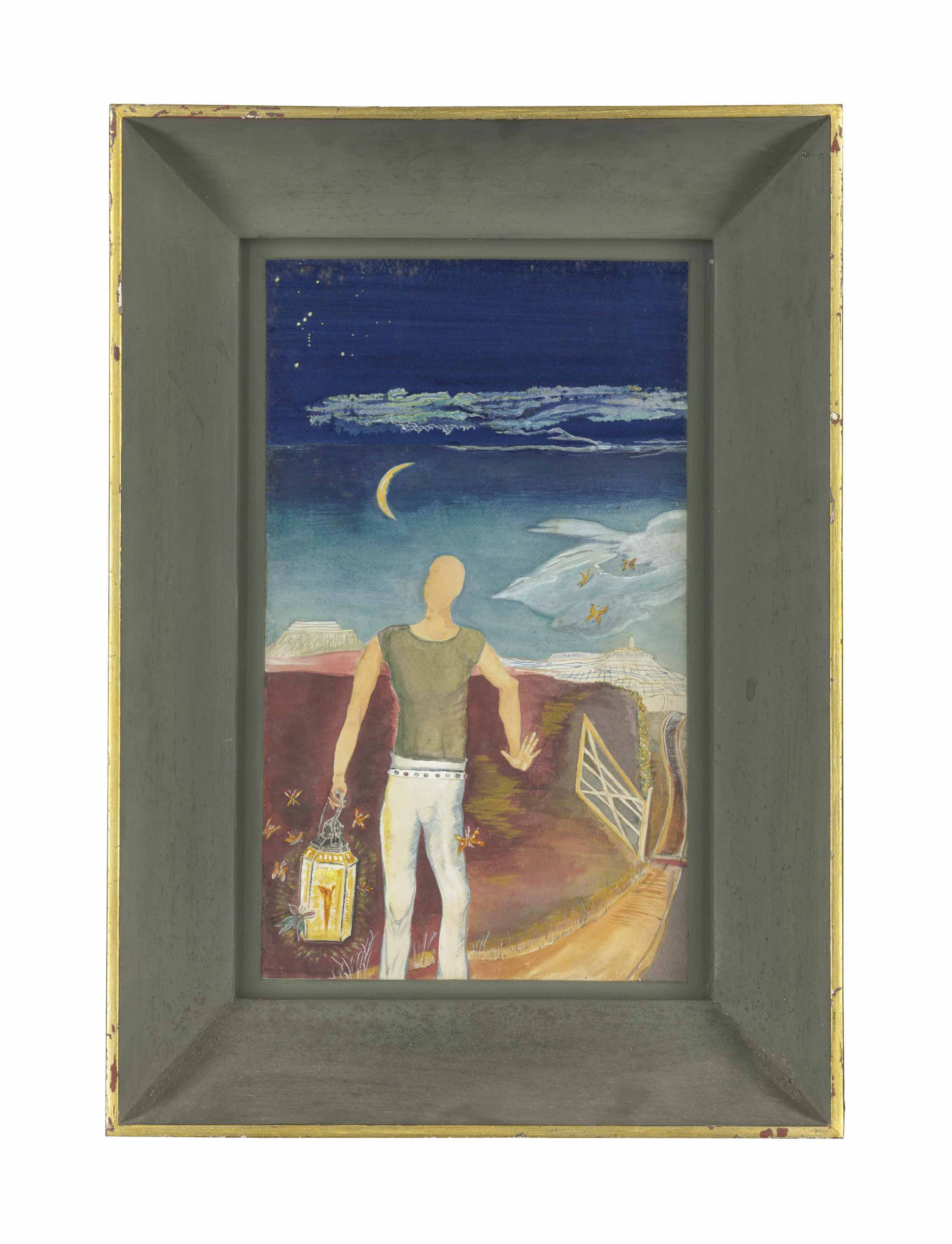 Young man carrying a lantern