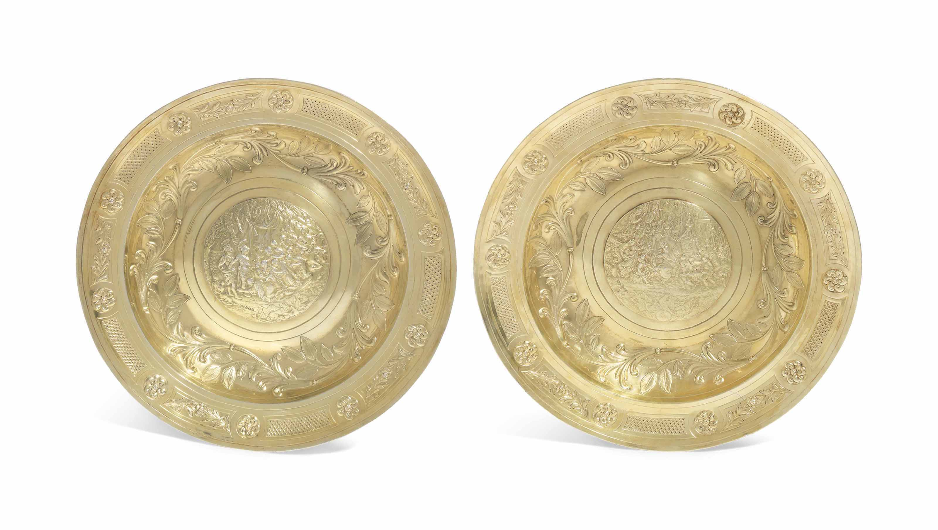 A PAIR OF GEORGE II SILVER-GILT ROSEWATER-DISHES