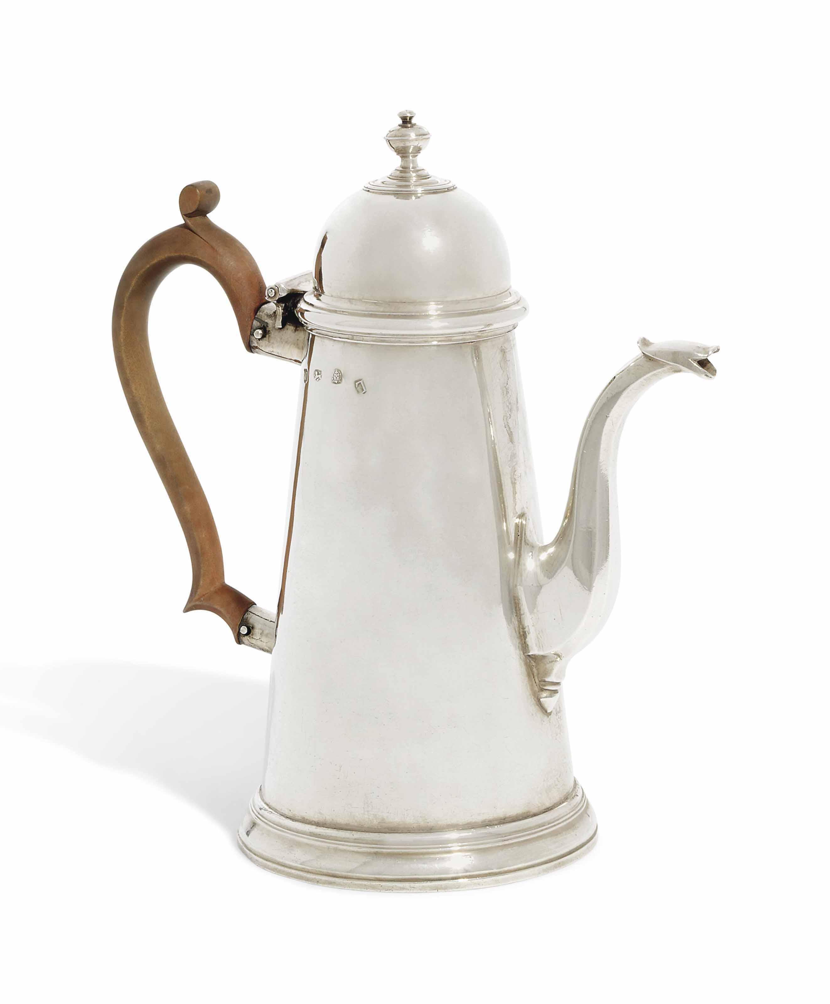 A GEORGE I SILVER COFFEE-POT