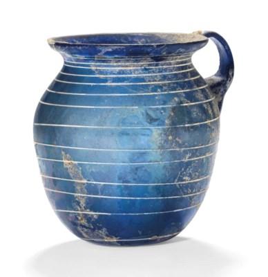 A ROMAN COBALT BLUE GLASS ONE-
