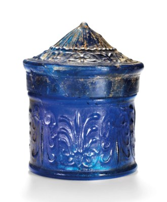 A ROMAN COBALT BLUE GLASS PYXI
