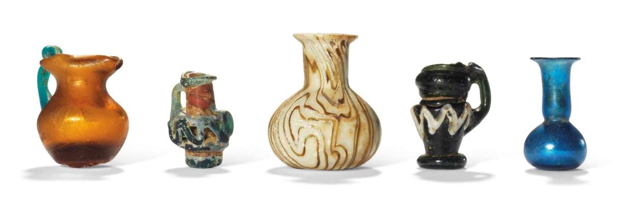 FIVE ROMAN MINIATURE GLASS VES