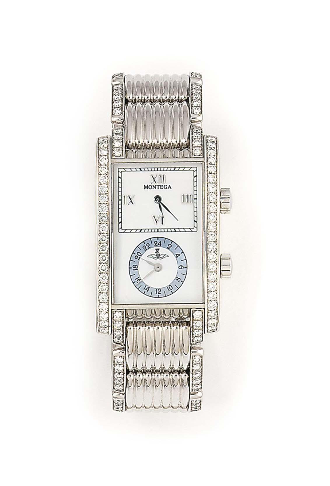 A DIAMOND-SET DUAL TIME QUARTZ WRISTWATCH, BY MONTEGA