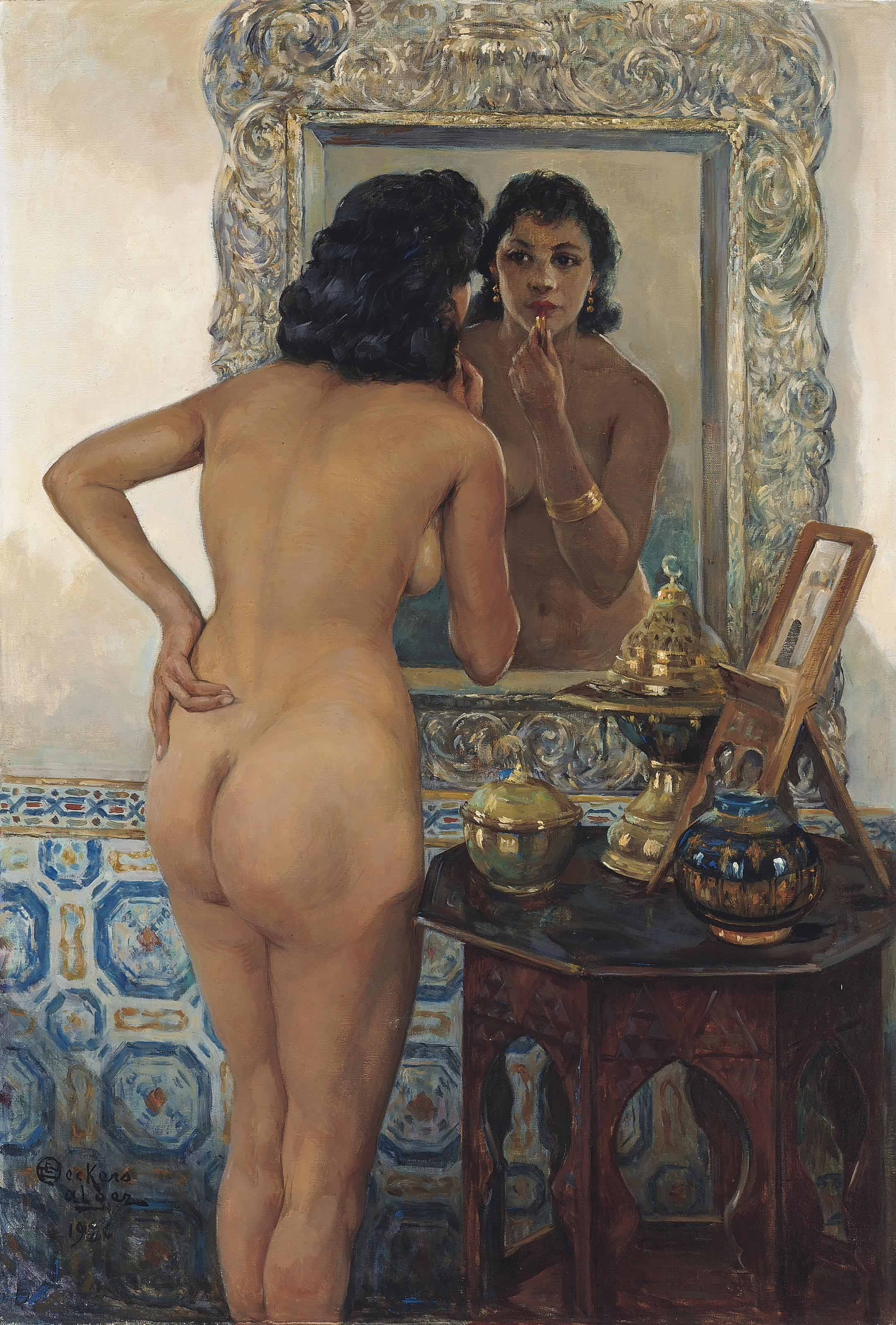 An Algerian beauty in front of a mirror