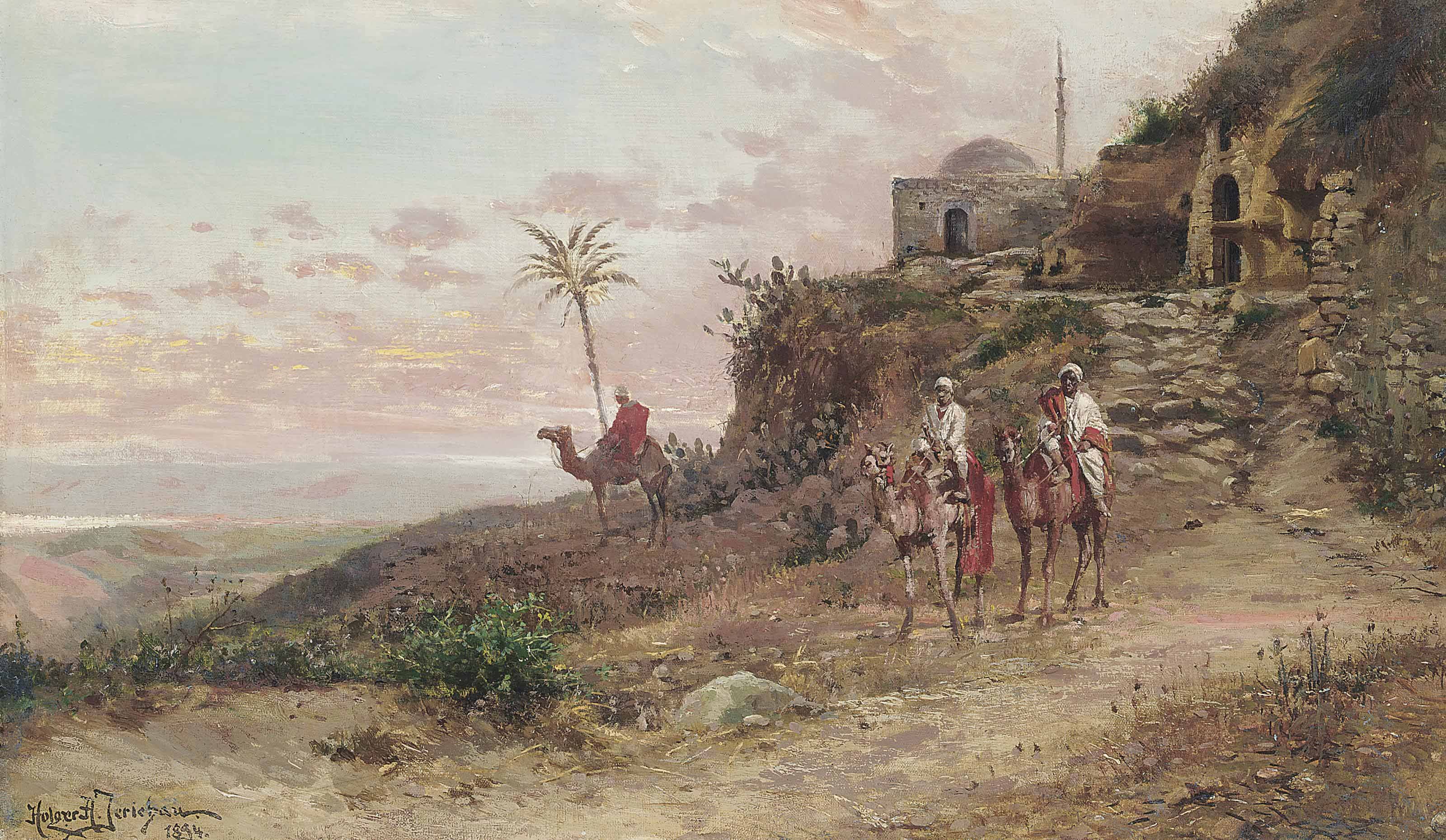Arab travellers on camels at an outlook