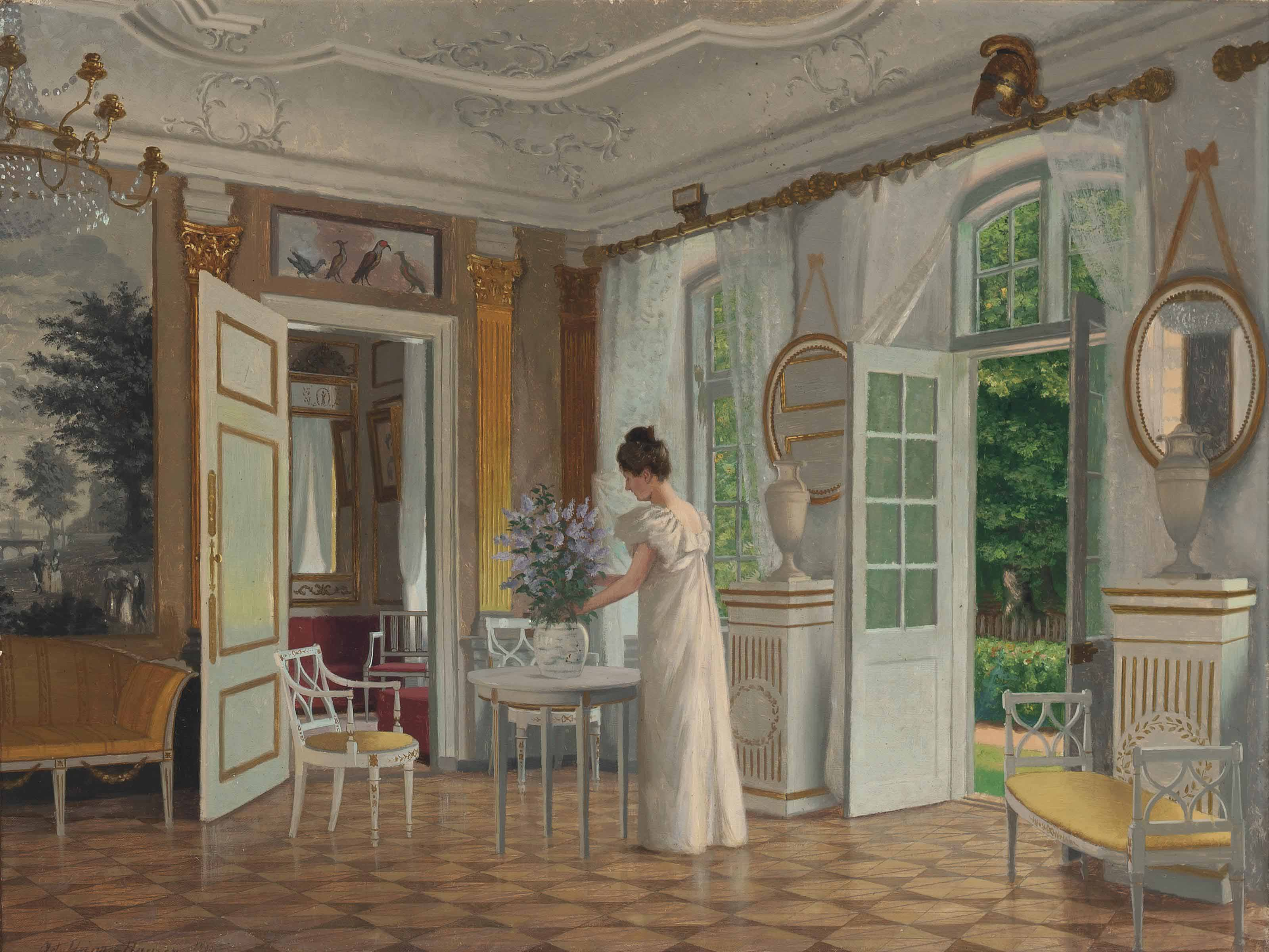 A lady in a sunlit interior