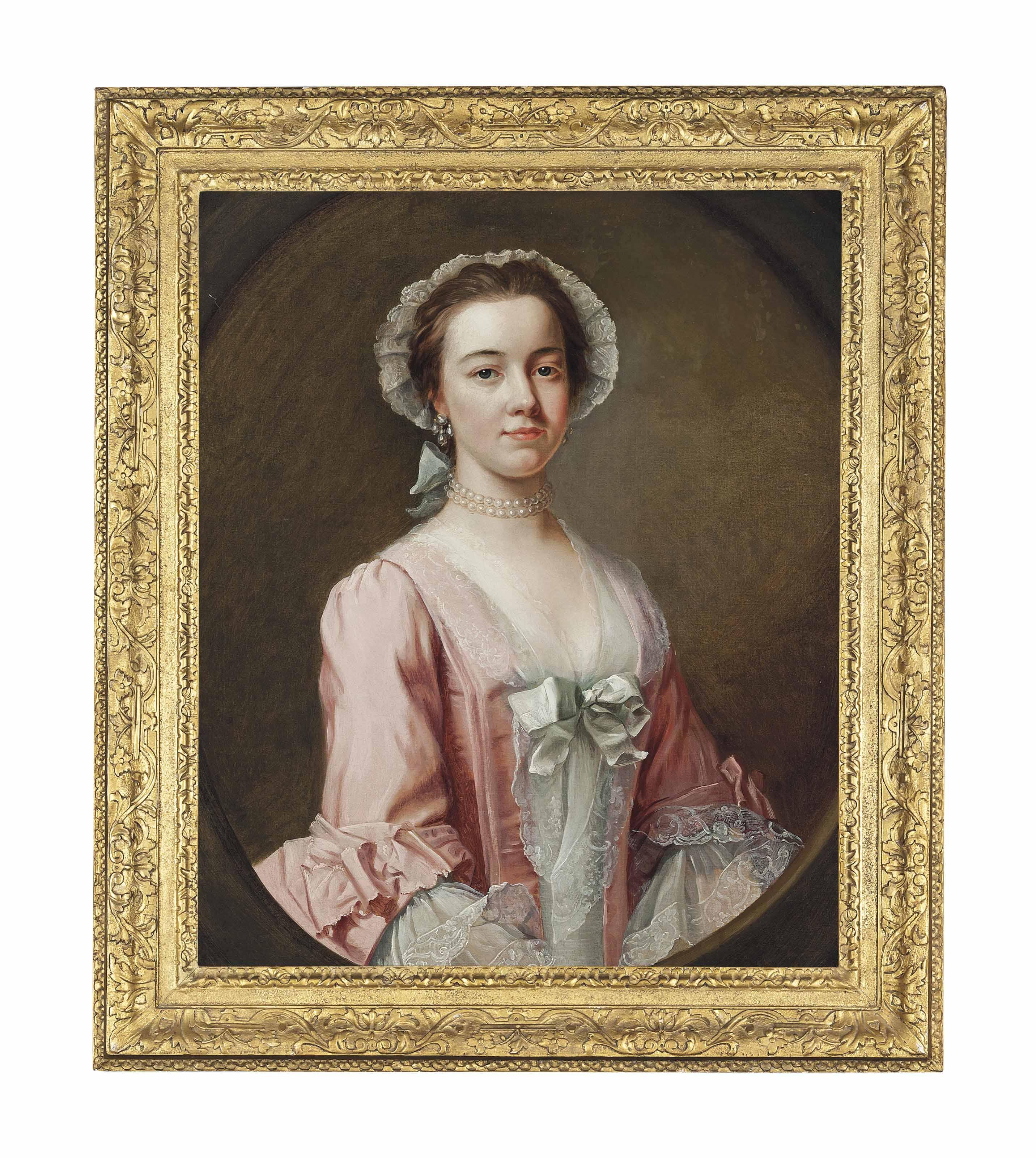 Portrait of a lady, traditionally identified as Ann Burney, half-length, in a pink dress with a lace bonnet and sleeves, with pearl earrings and a choker, in a feigned oval