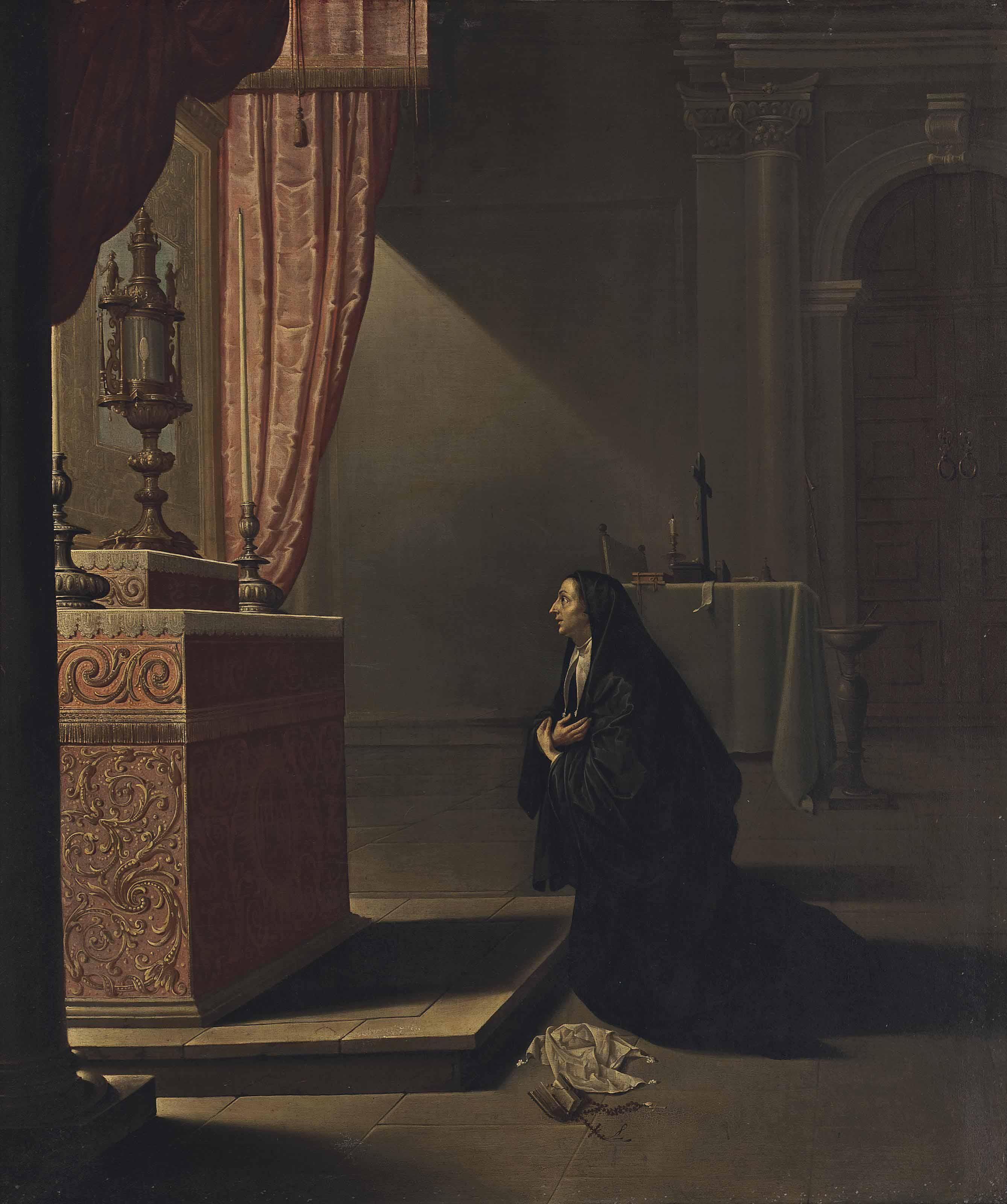 A nun in a church interior