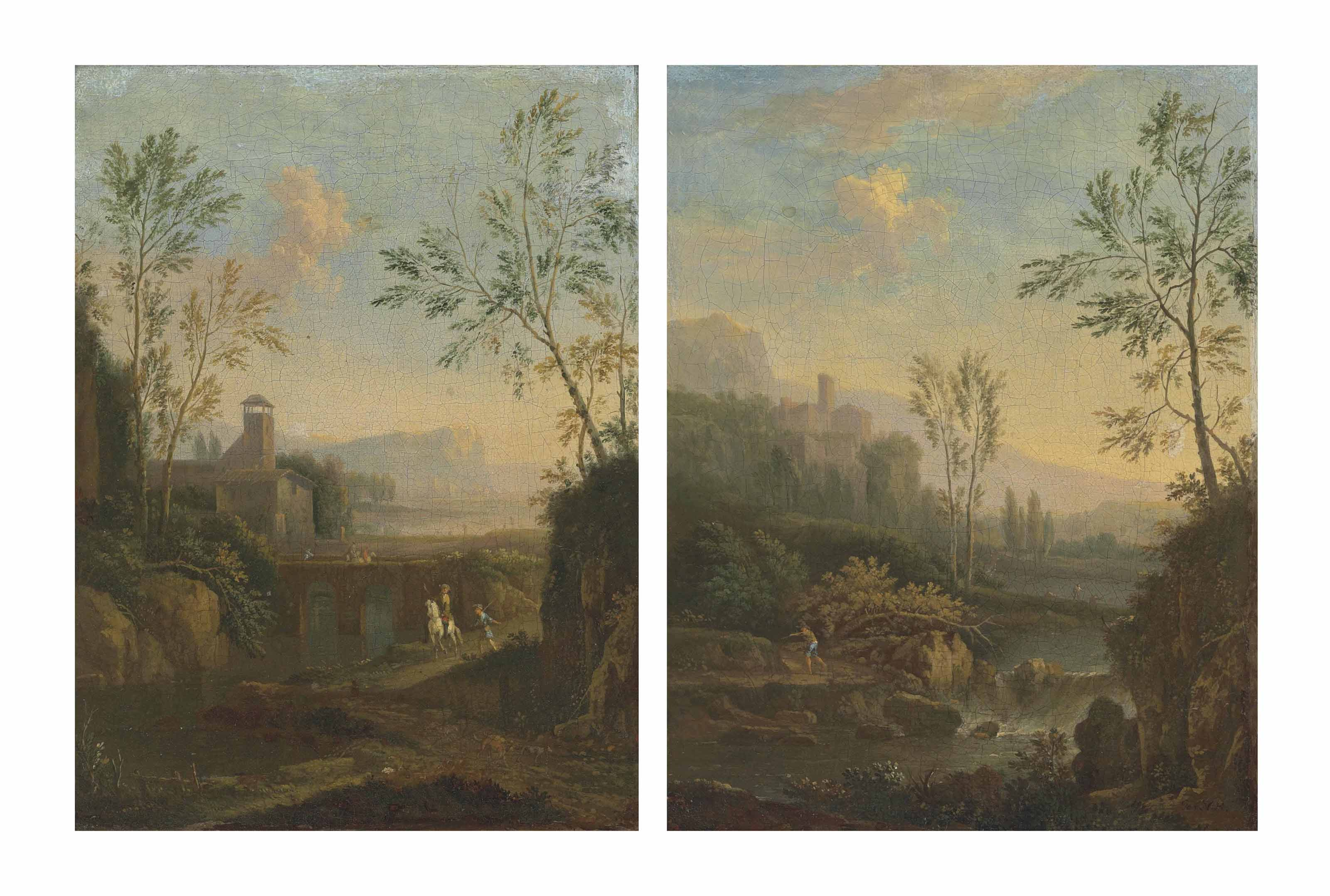 An Italianate river landscape with a waterfall and a figure on a path, a villa and mountains beyond; and An Italianate river landscape with travellers crossing a bridge and a figure on horseback, a villa beyond